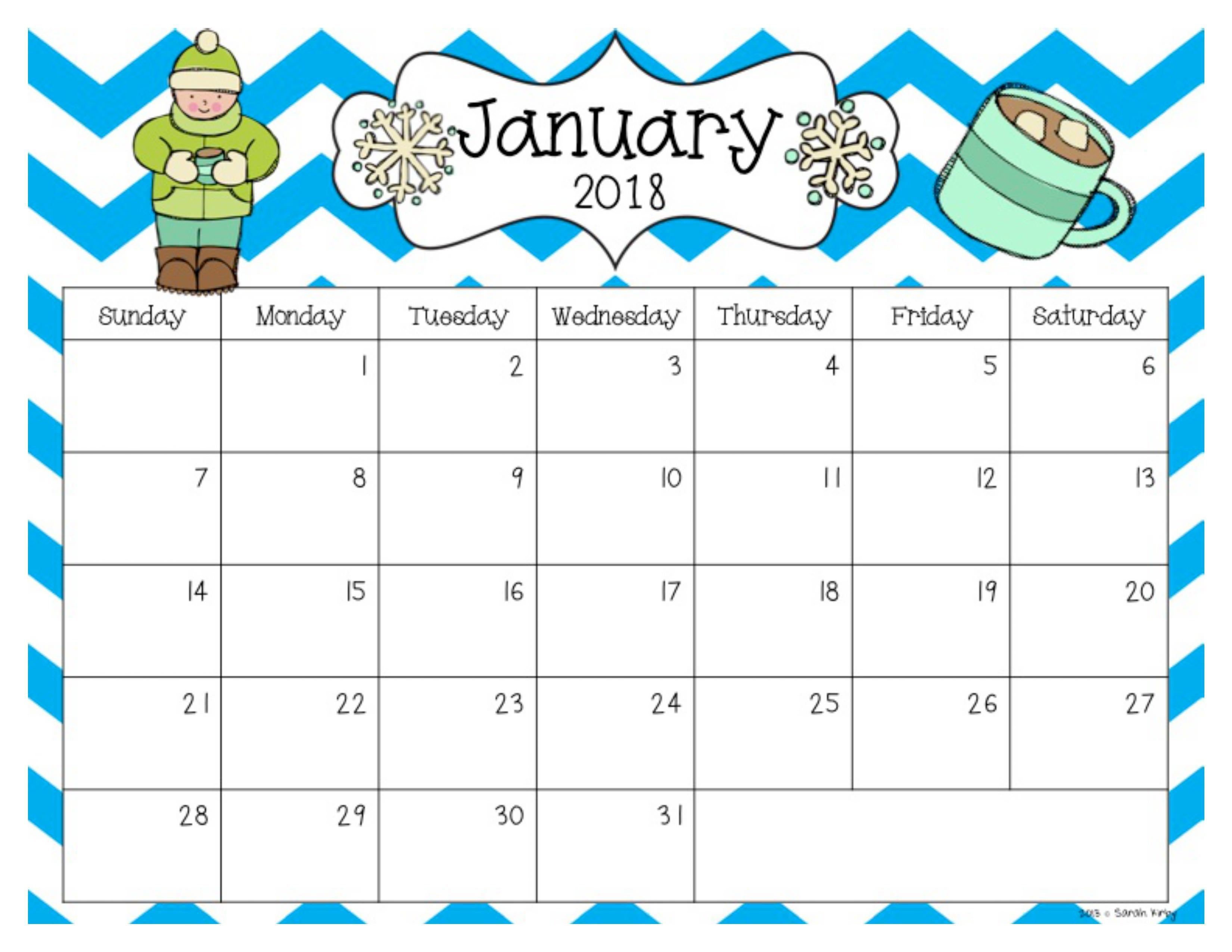 Free 2018 And 2019 Calendar | Preschool Calendar, Classroom