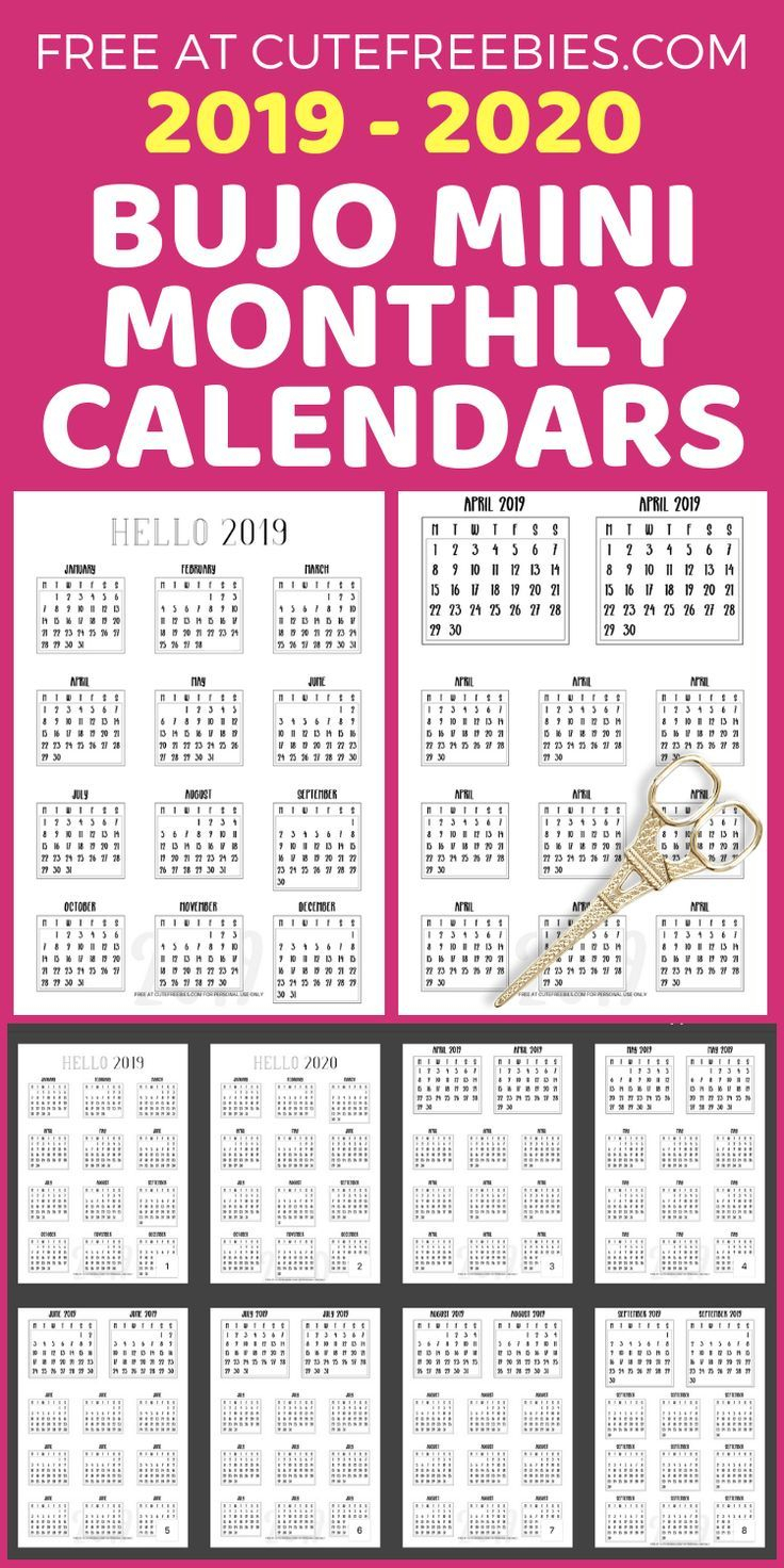 Free 2019-2020 Bullet Journal Calendar Printable Stickers