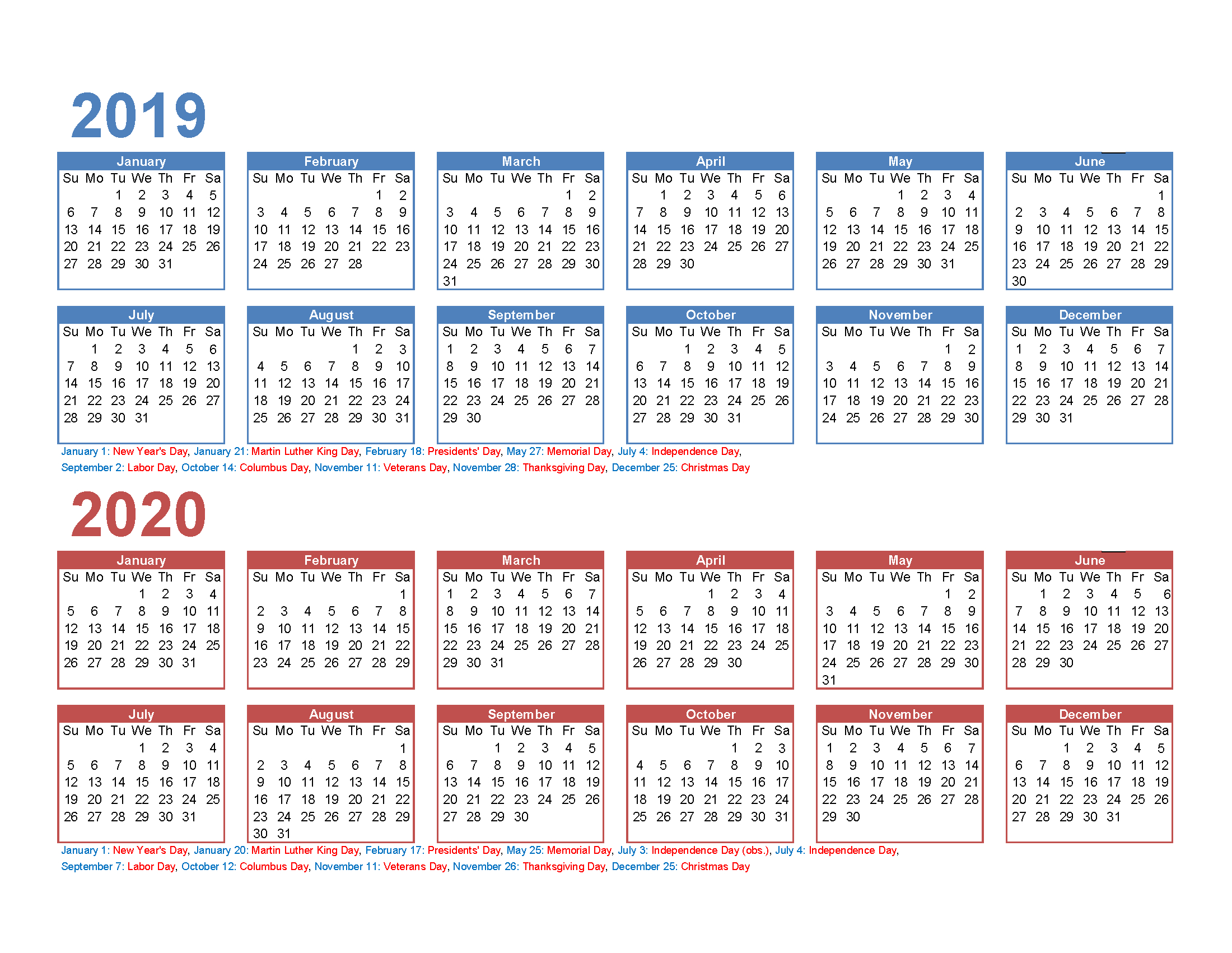 Free 2019 And 2020 Calendar Printable 2 Year Calendar | Free