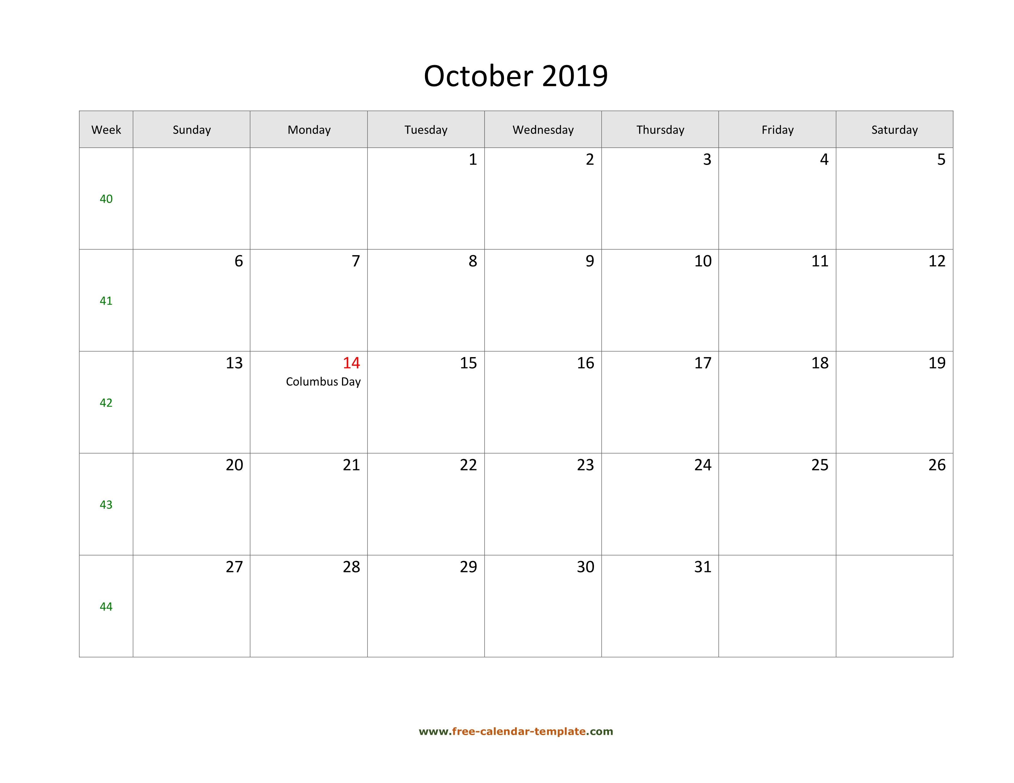 Free 2019 Calendar Blank October Template (Horizontal