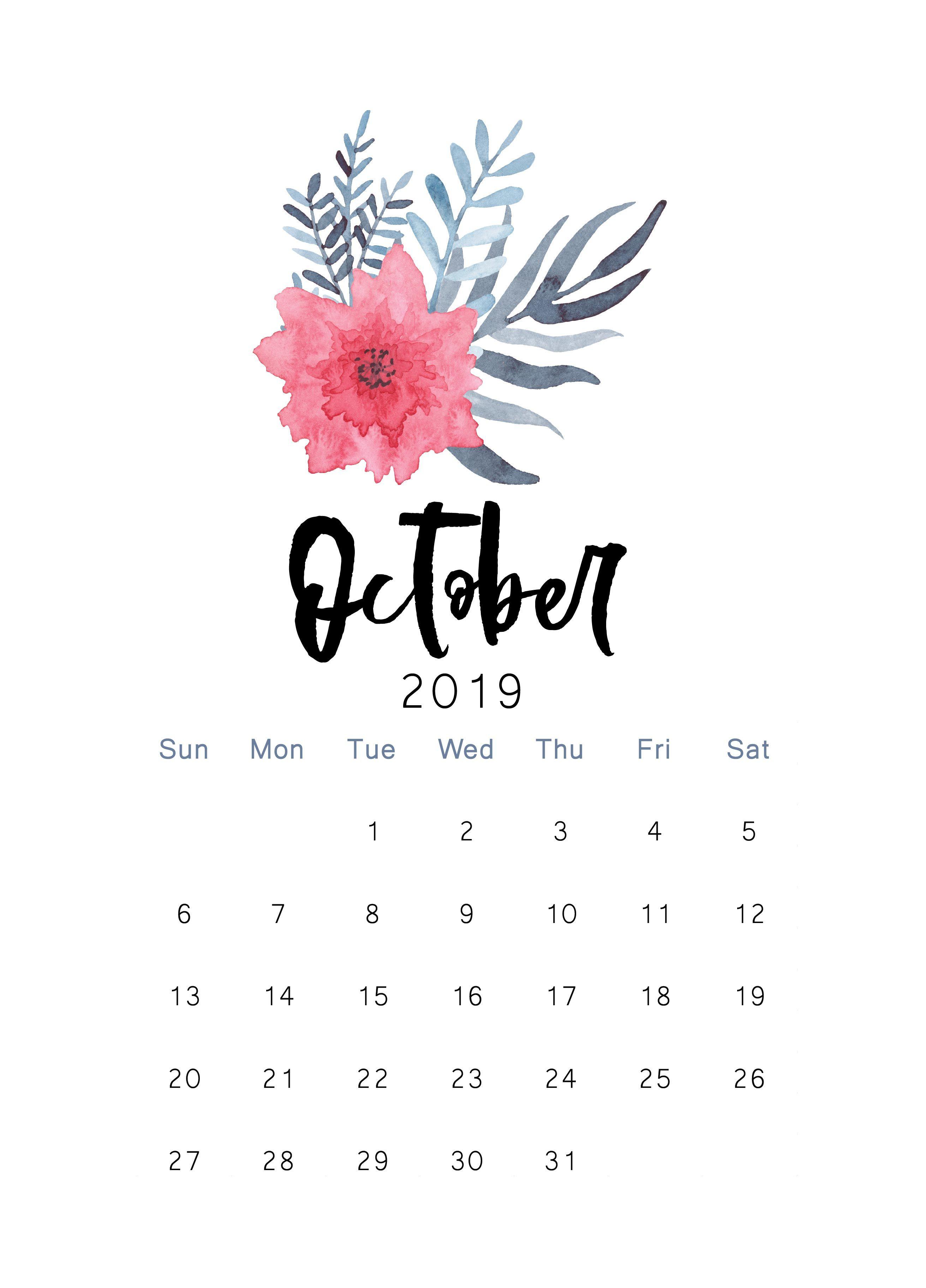 Free 2019 Printable Calendar | Print Calendar, Calendar