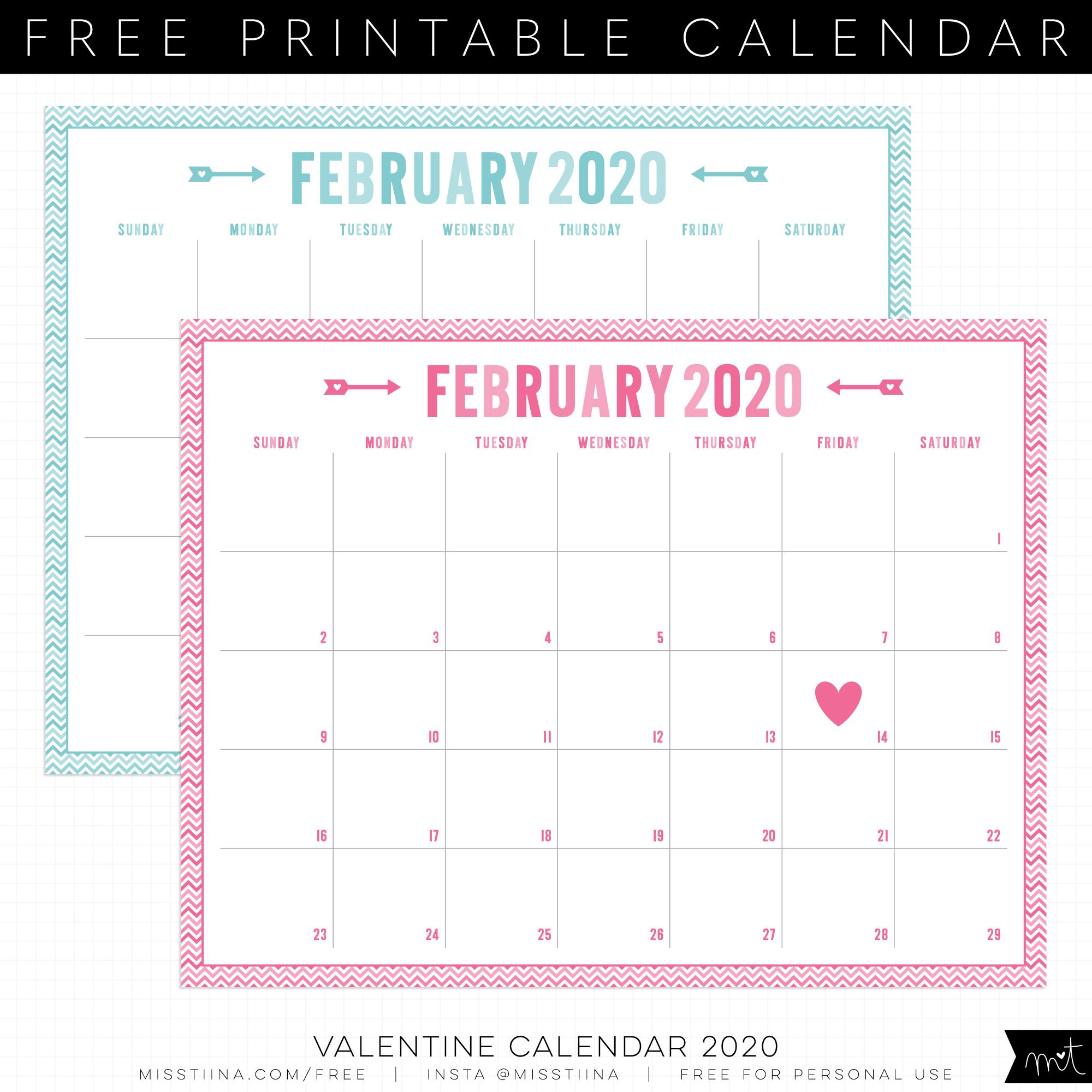 Free 2019 Valentine Calendar Printables | Misstiina