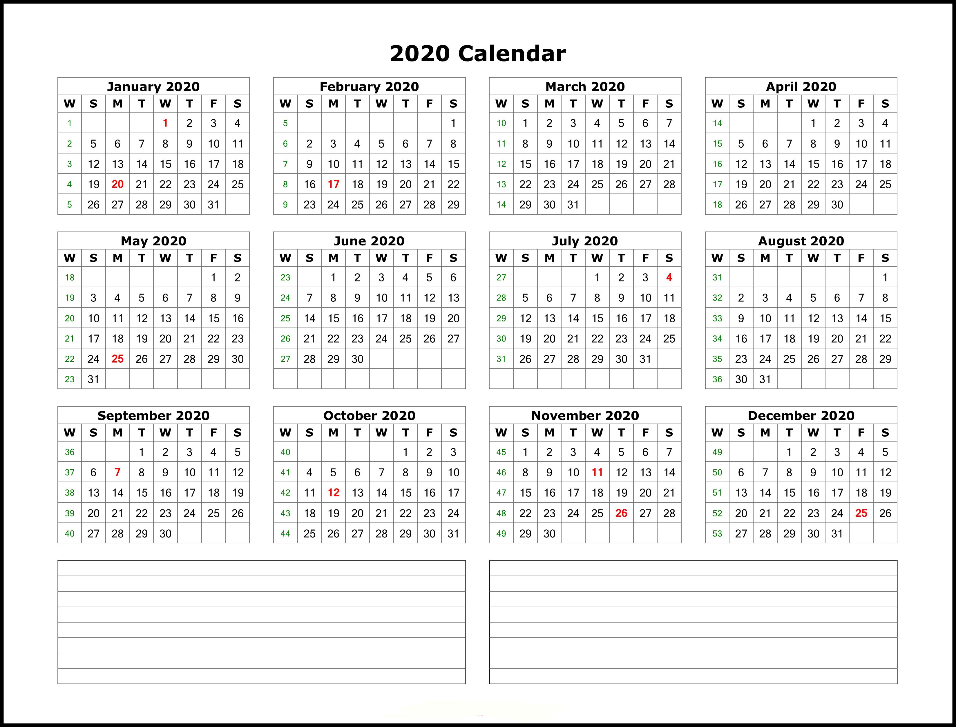 Free 2020 Excel Calendar - Wpa.wpart.co