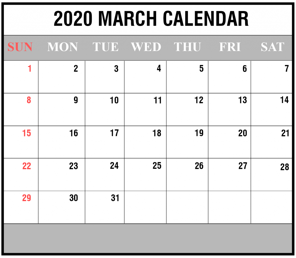 Free 2020 March Calendar Printable Editable Template Blank