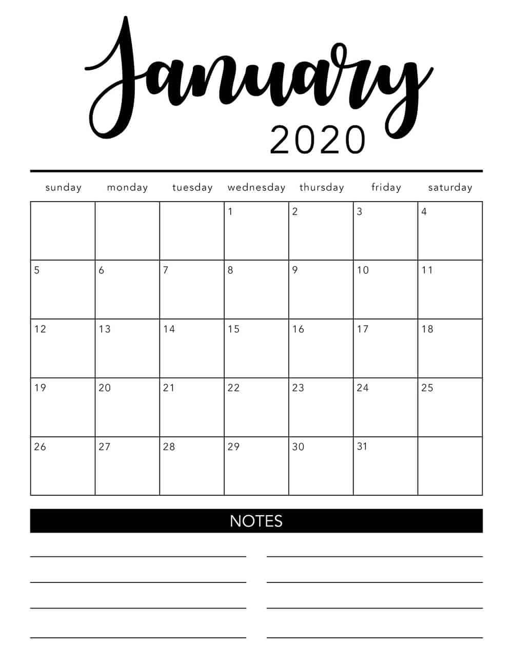 Free 2020 Printable Calendar Template (2 Colors!) - I Heart