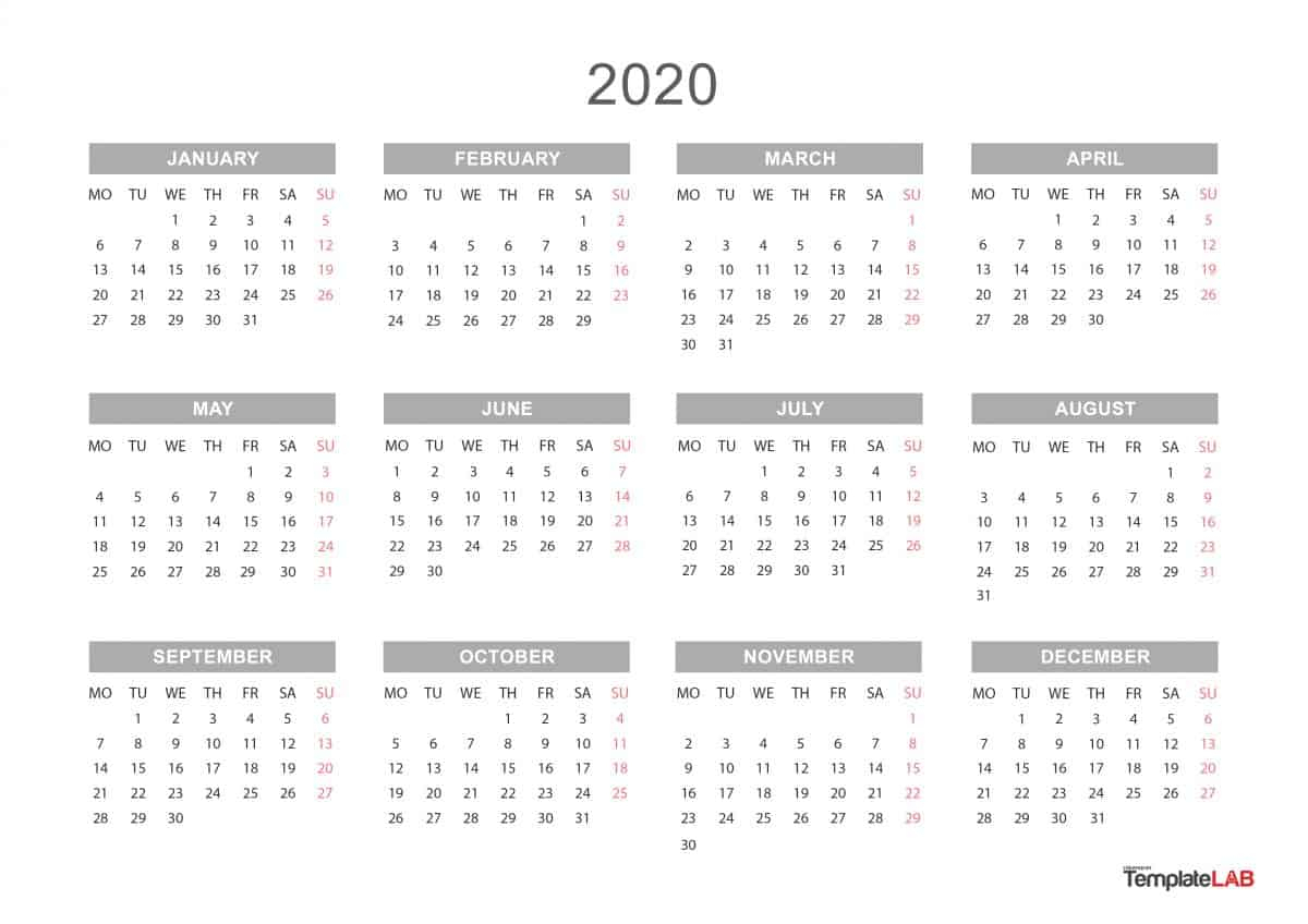 Free 2020 Yearly Calendar - Wpa.wpart.co