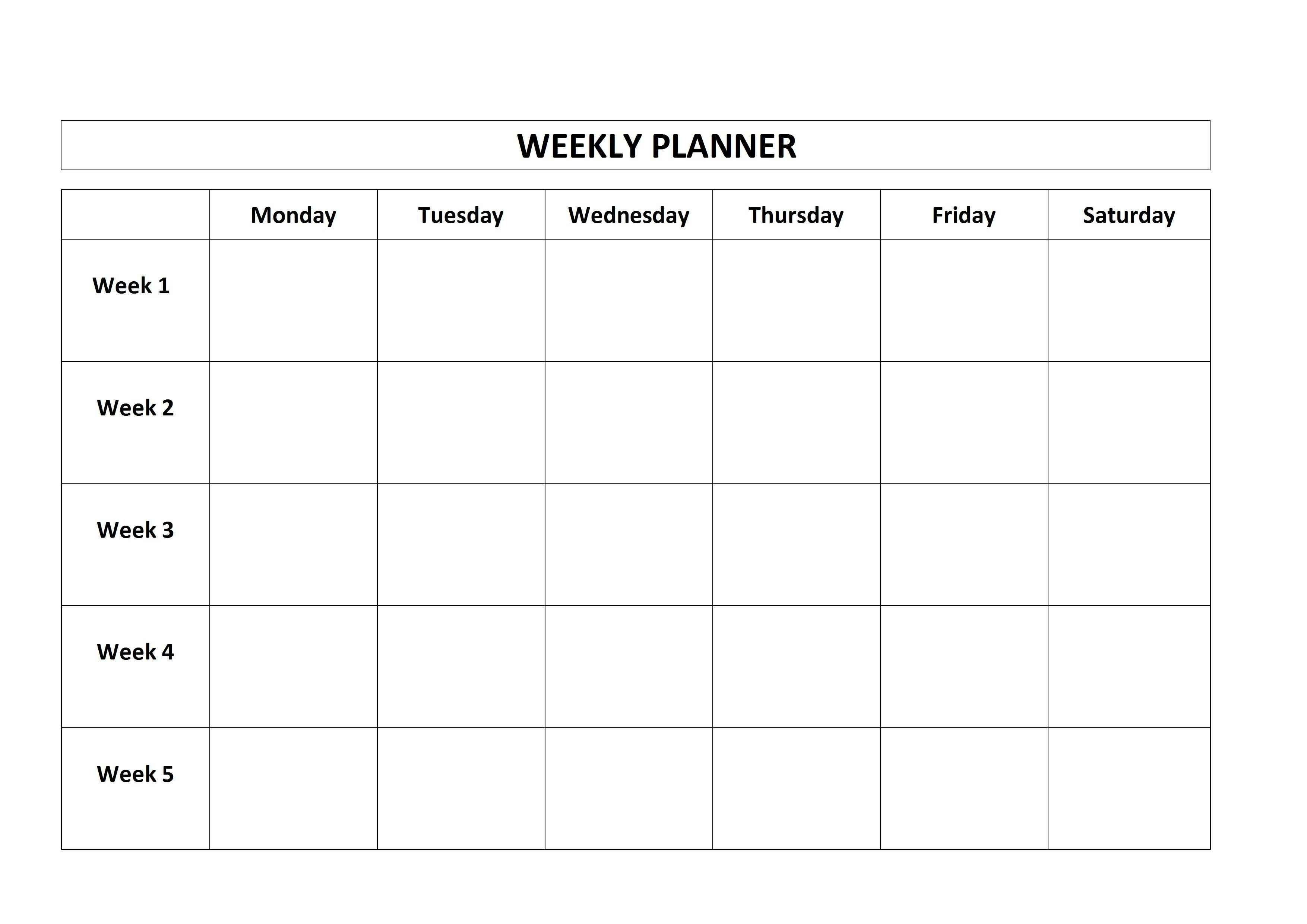 Free 5 Day Calendar Template | Example Calendar Printable