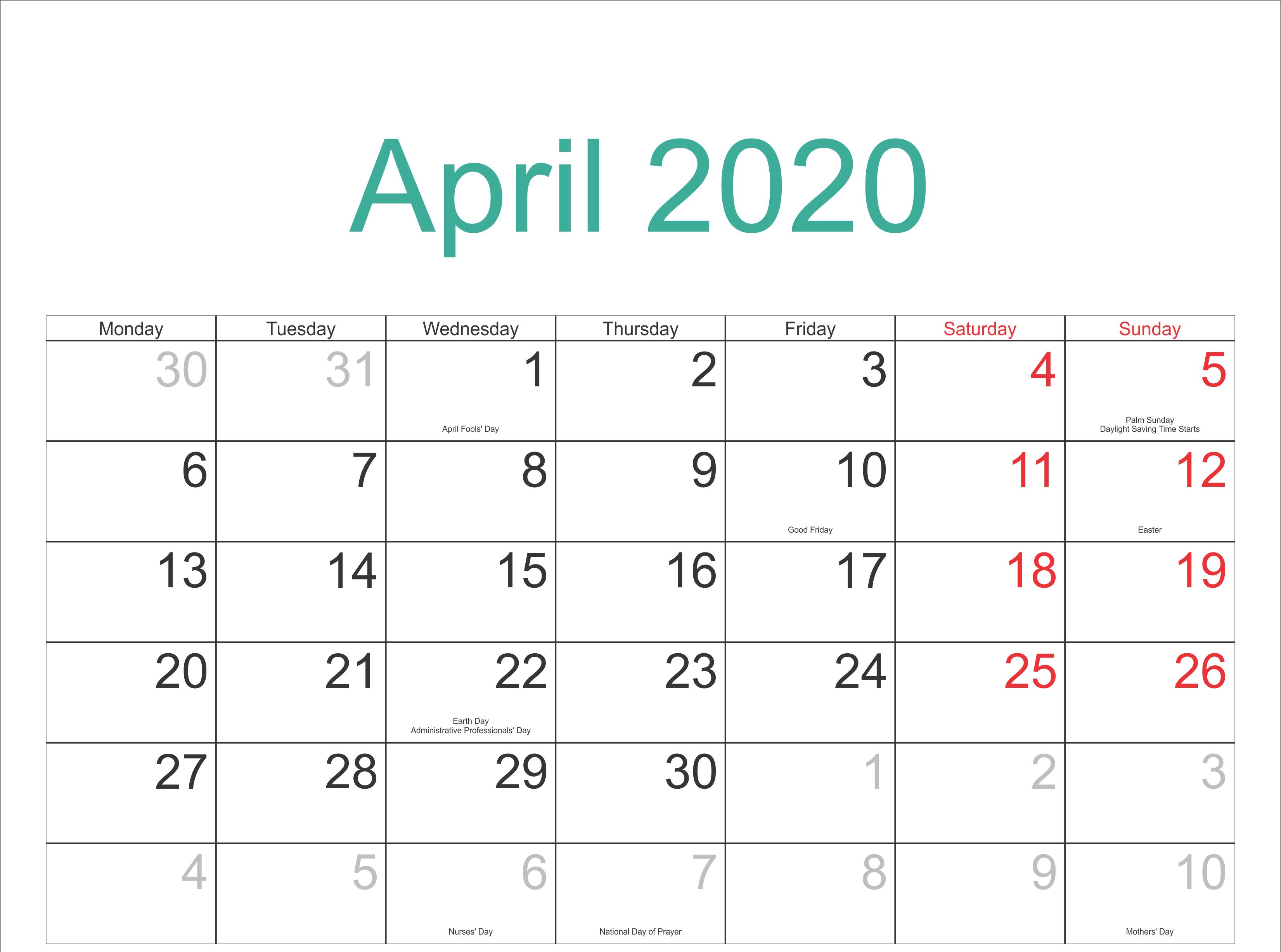 Free April 2020 Calendar – Blank Printable Template