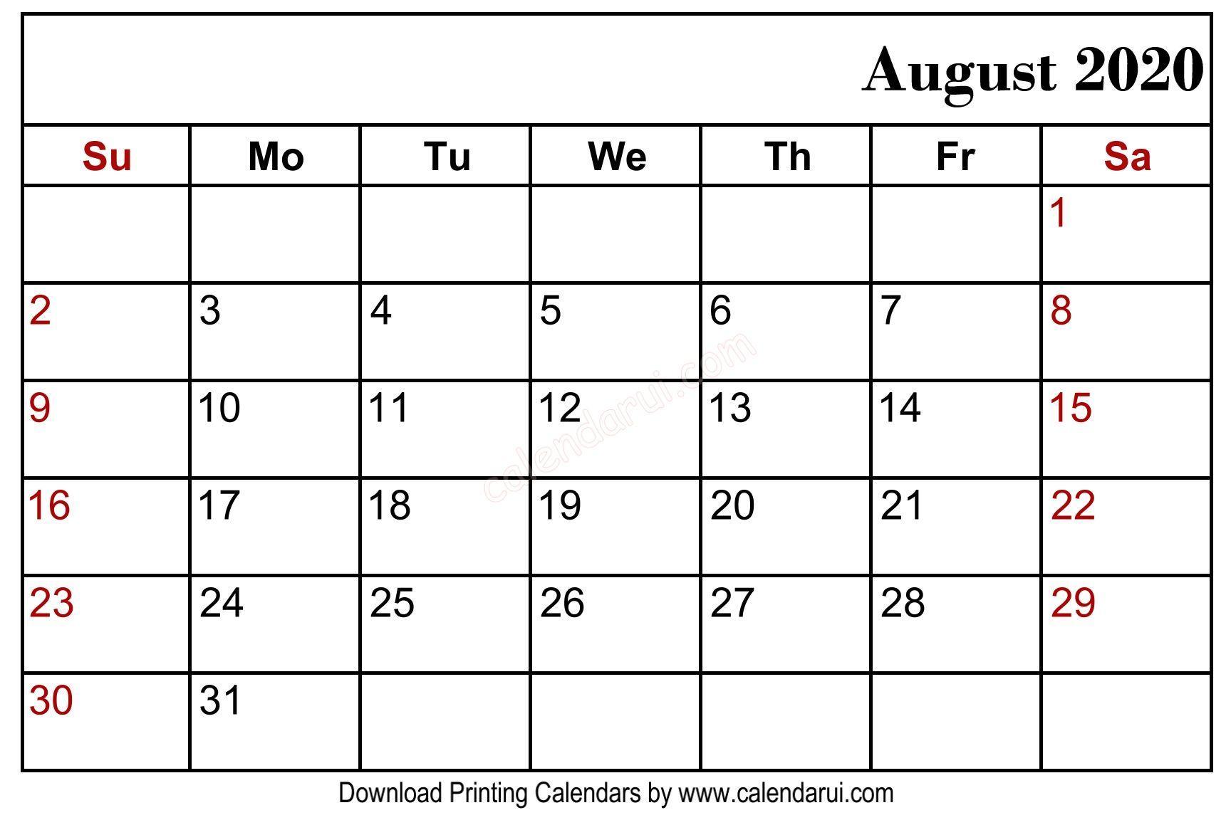Free Printable Editable Calendar August 2020