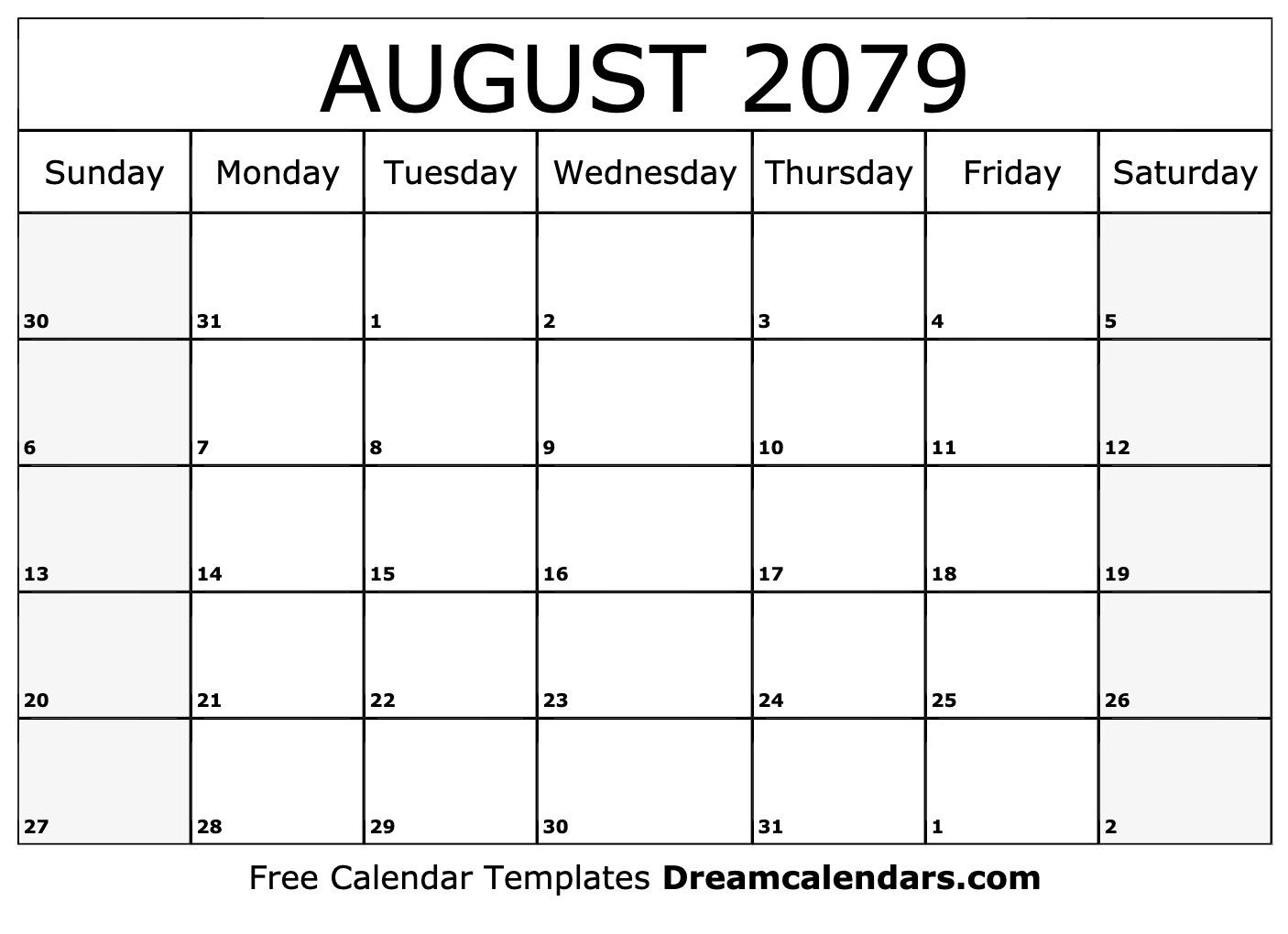 Free Blank August 2079 Printable Calendar