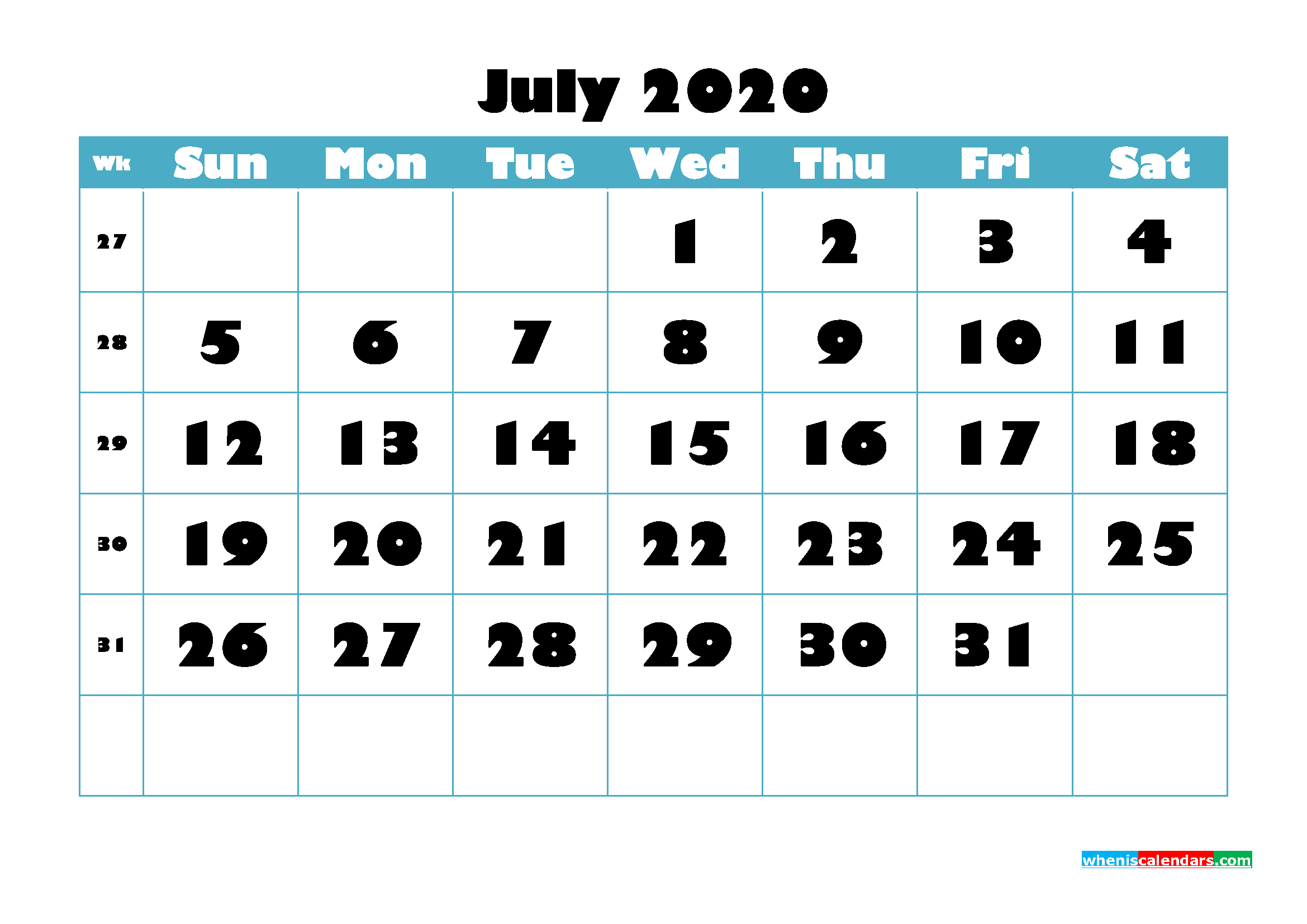 Free Blank Calendar July 2020 Printable - No.m20B763 | Free