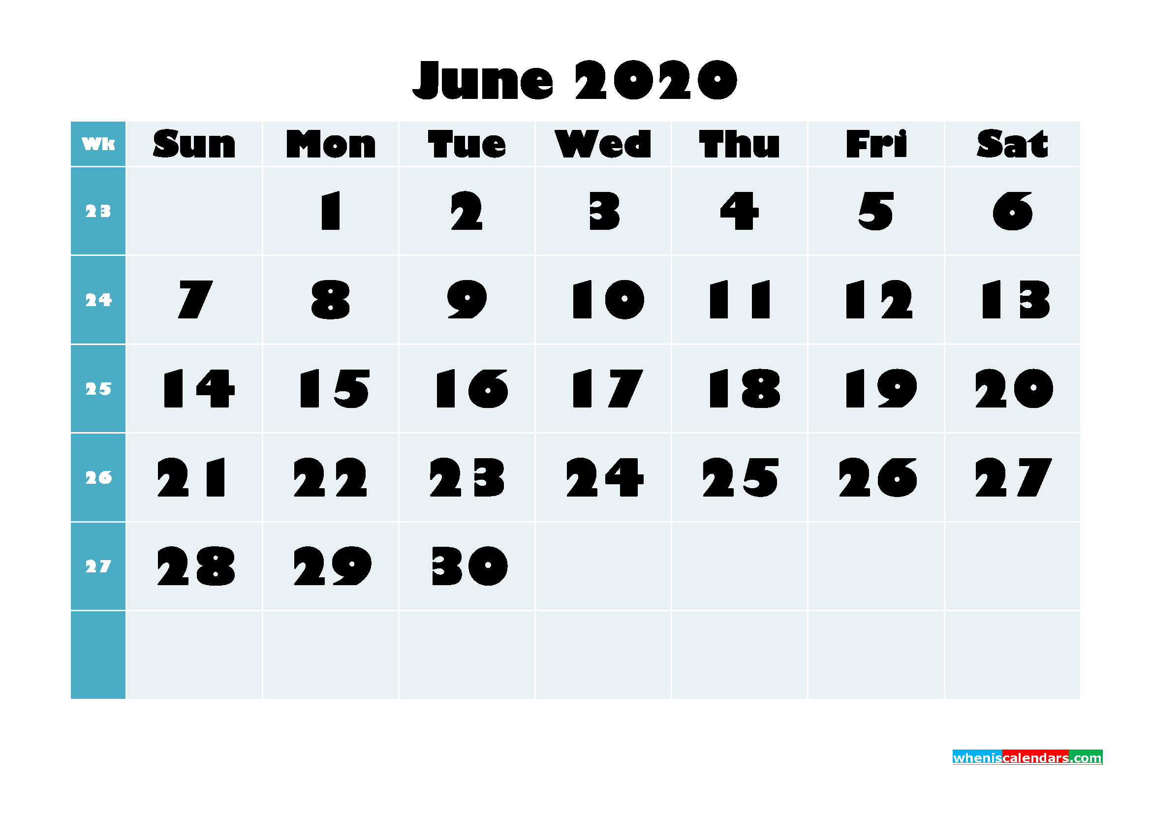 Free Blank Calendar June 2020 Printable - No.m20B690 | Free
