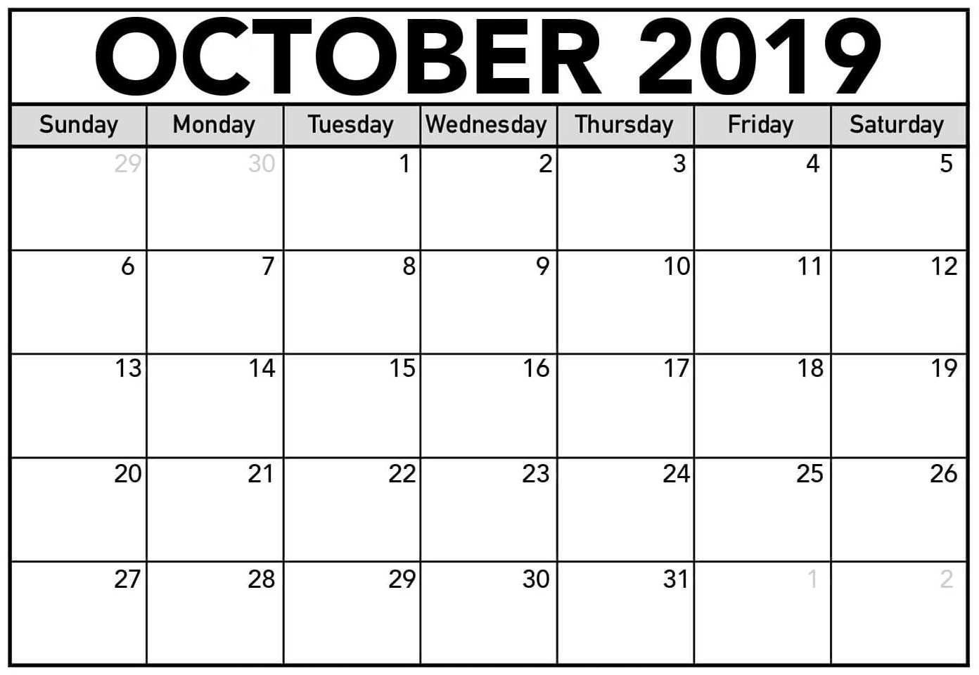 Free Blank Calendar October 2019 Printable - 2019 Calendars