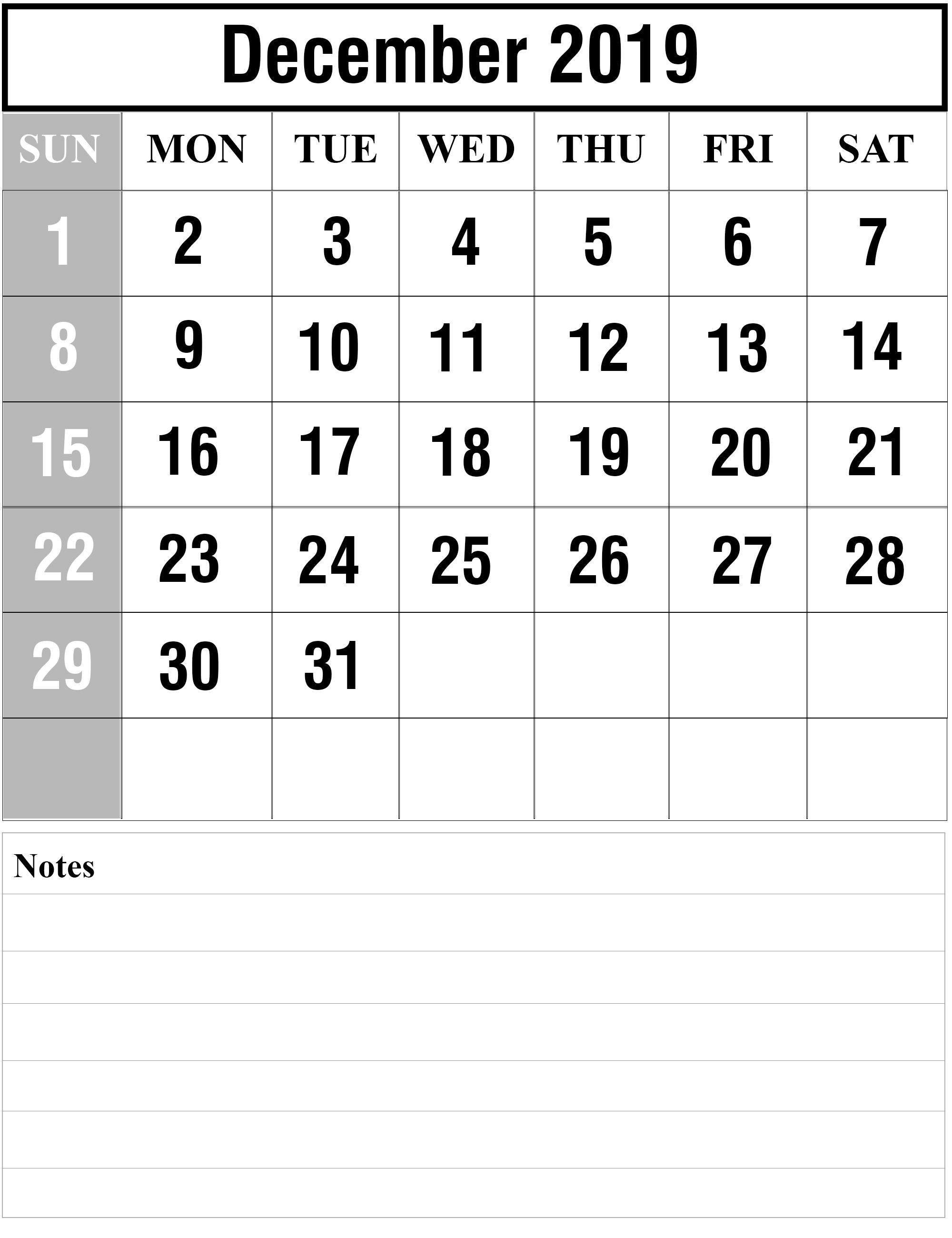 Free Blank December 2019 Printable Calendar In Pdf, Excel