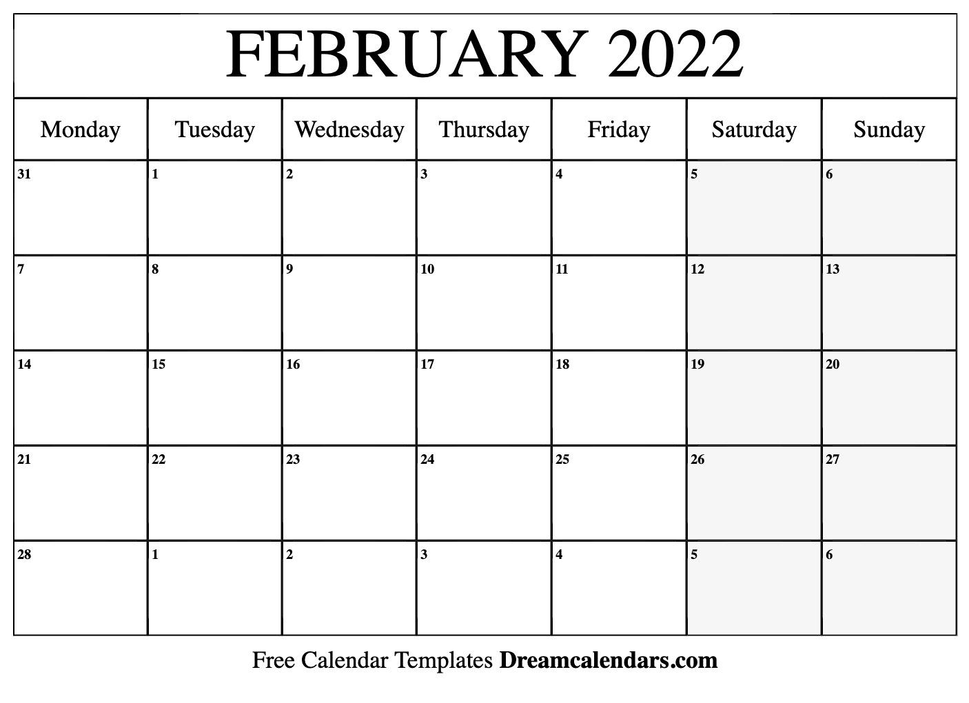 Free Blank February 2022 Printable Calendar