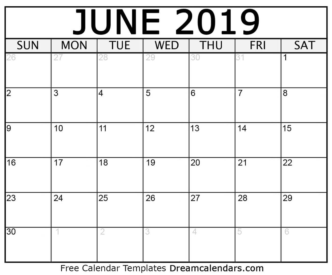 Free Blank June 2019 Printable Calendar