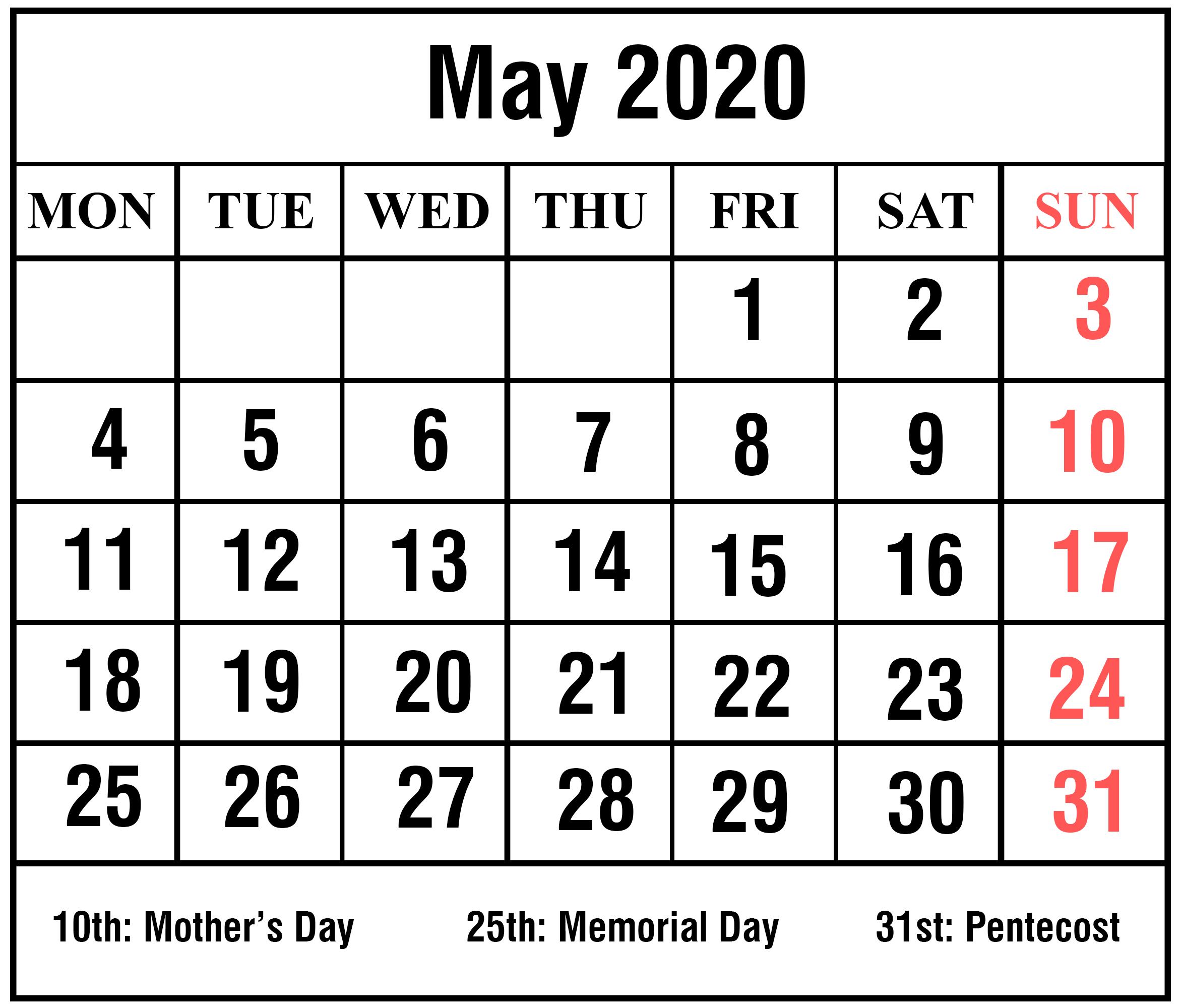 Free Blank May Calendar 2020 Printable Template Pdf Word Excel