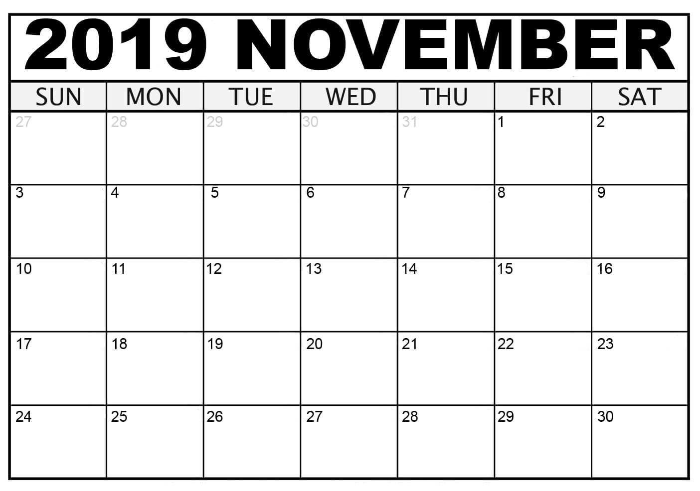 Free Blank November Calendar 2019 Printable Template Pdf