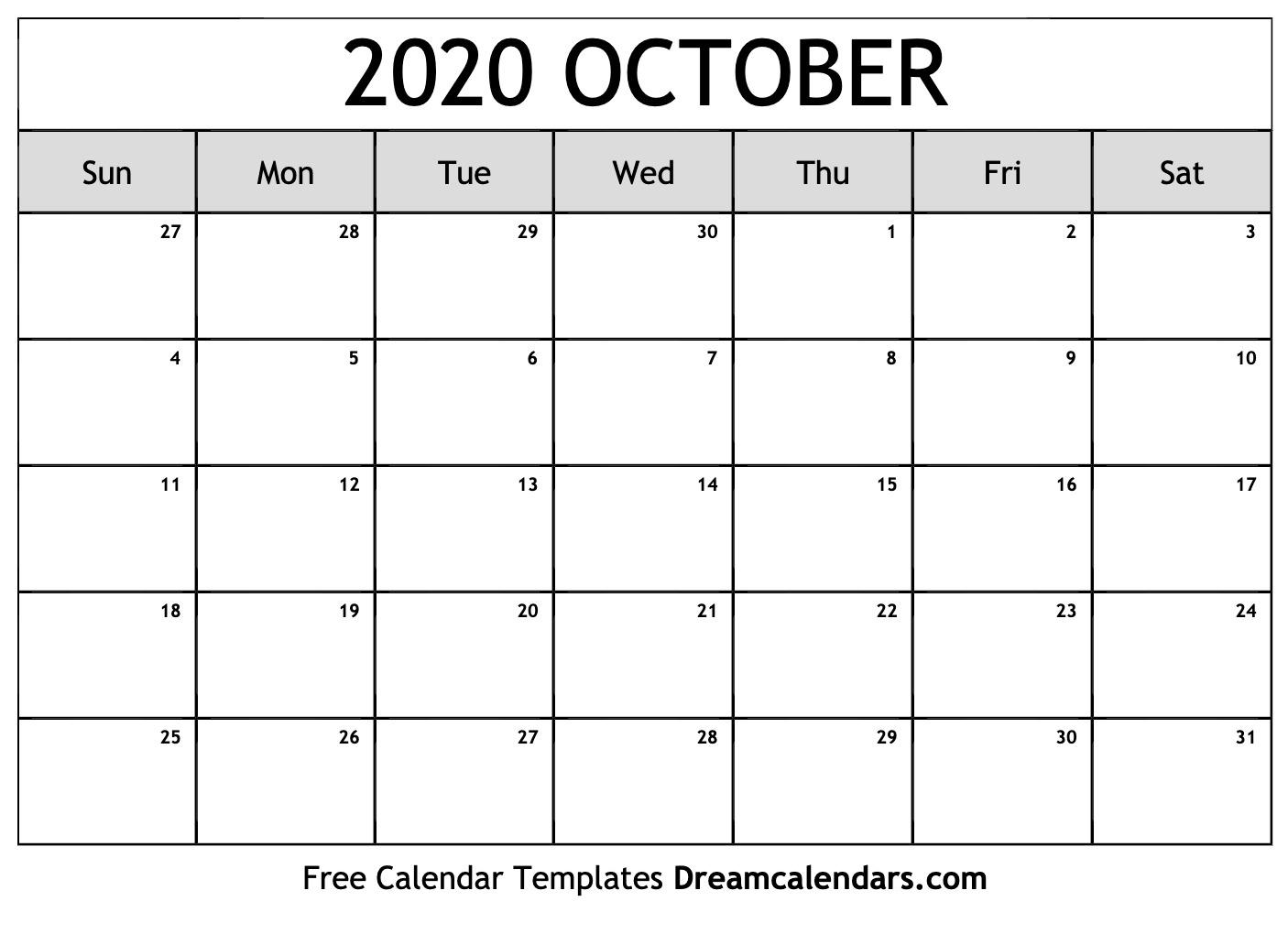 Free Blank October 2020 Printable Calendar