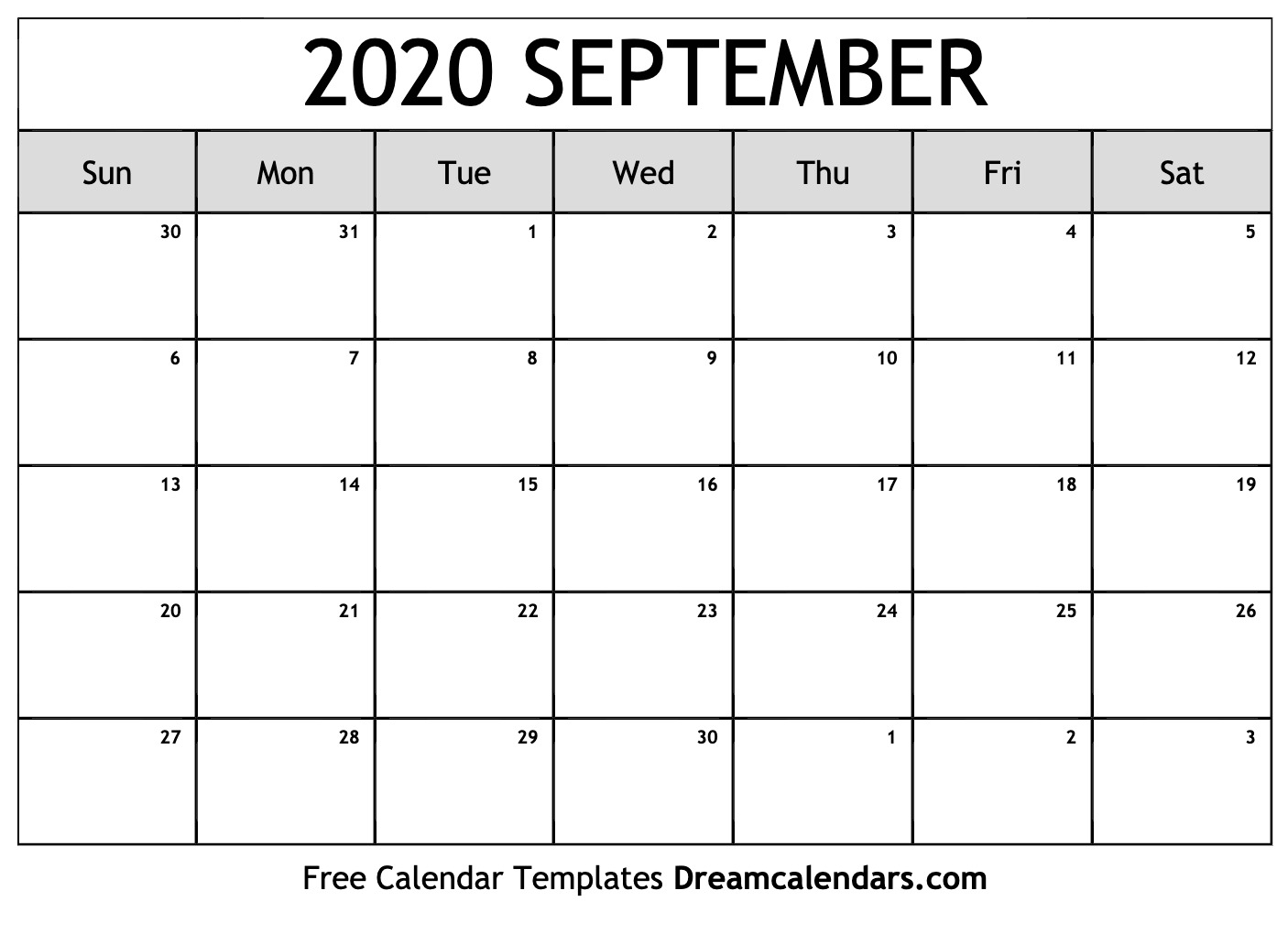 Free Blank September 2020 Printable Calendar
