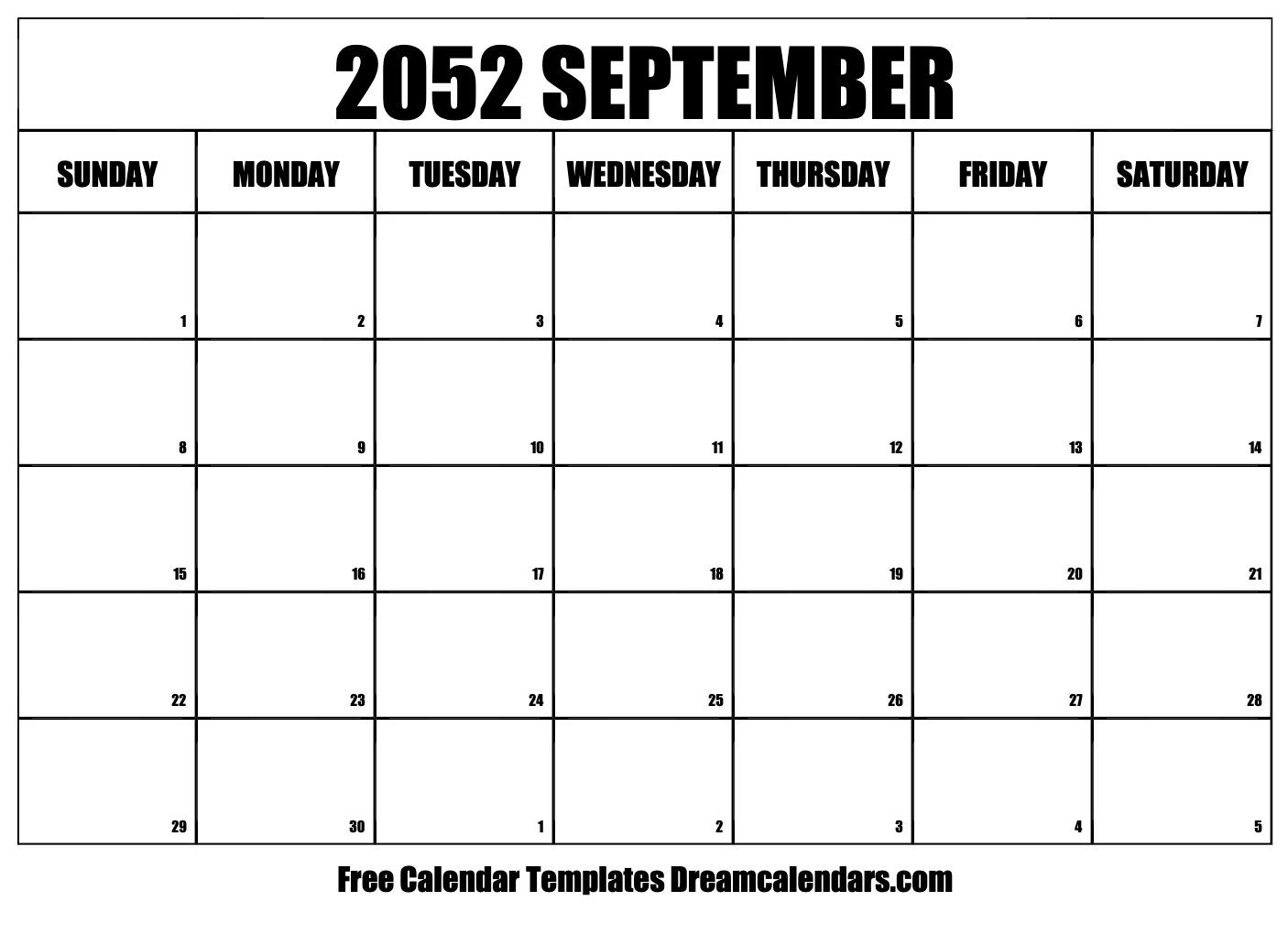 Free Blank September 2052 Printable Calendar