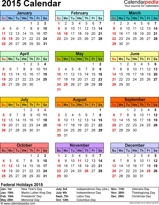 Free Calendar 2015 Templates - Wpa.wpart.co