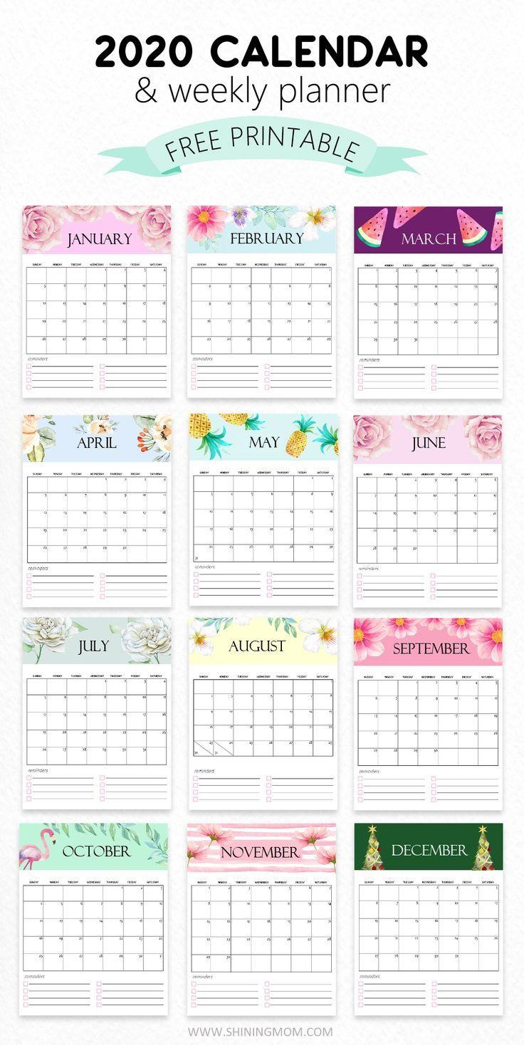 Free Printable Girly Calendar 2020   Calendar Printables ...