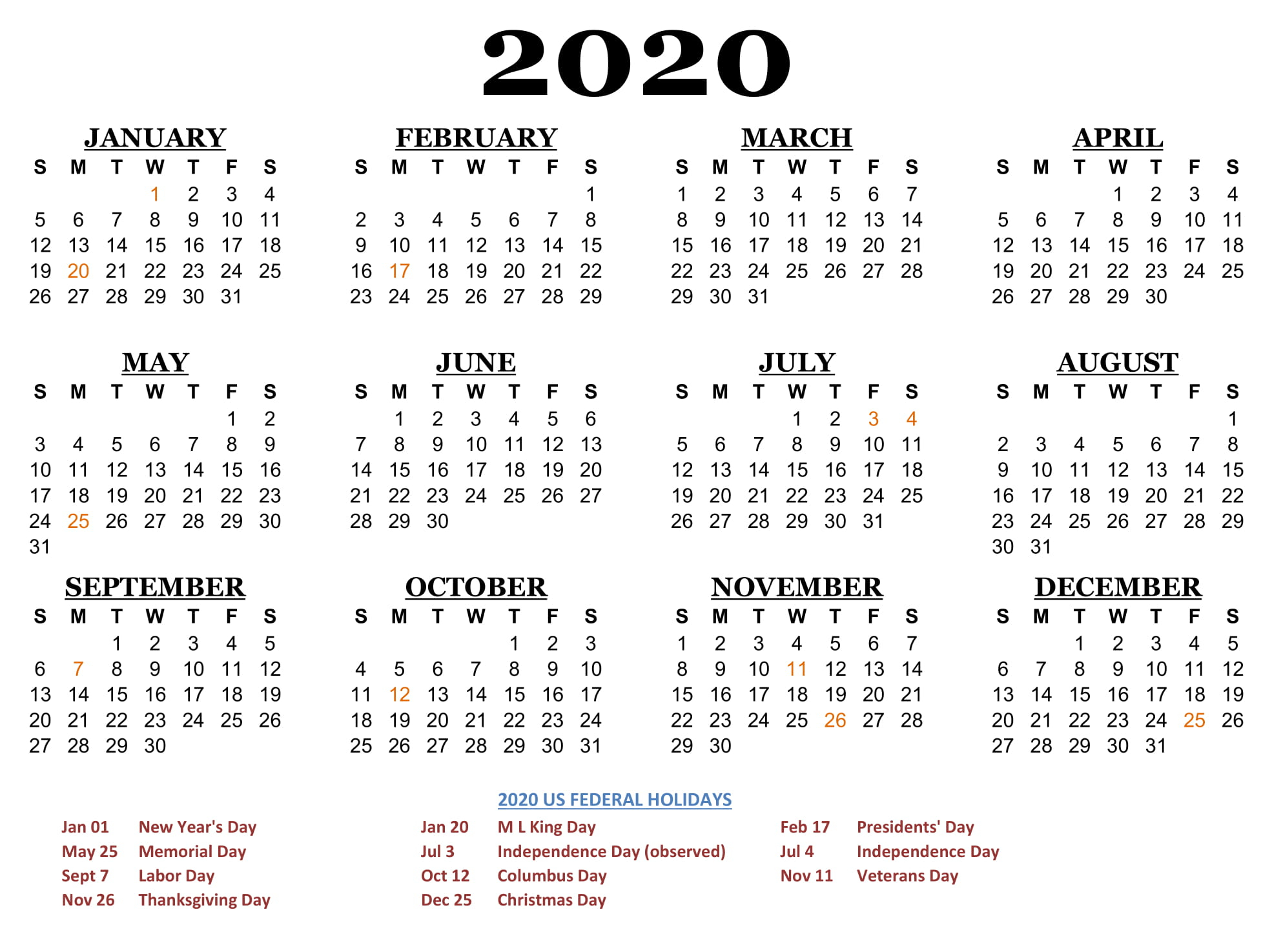 Free Calendar 2020 Printable Yearly | 12 Month Printable