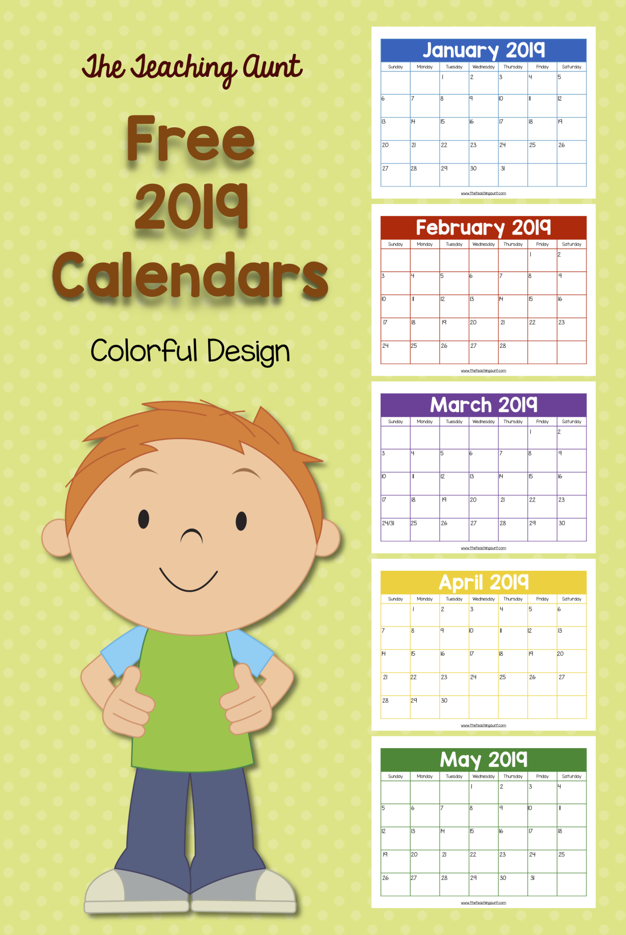Free Colorful 2019 Calendar | Preschool Calendar, Teacher