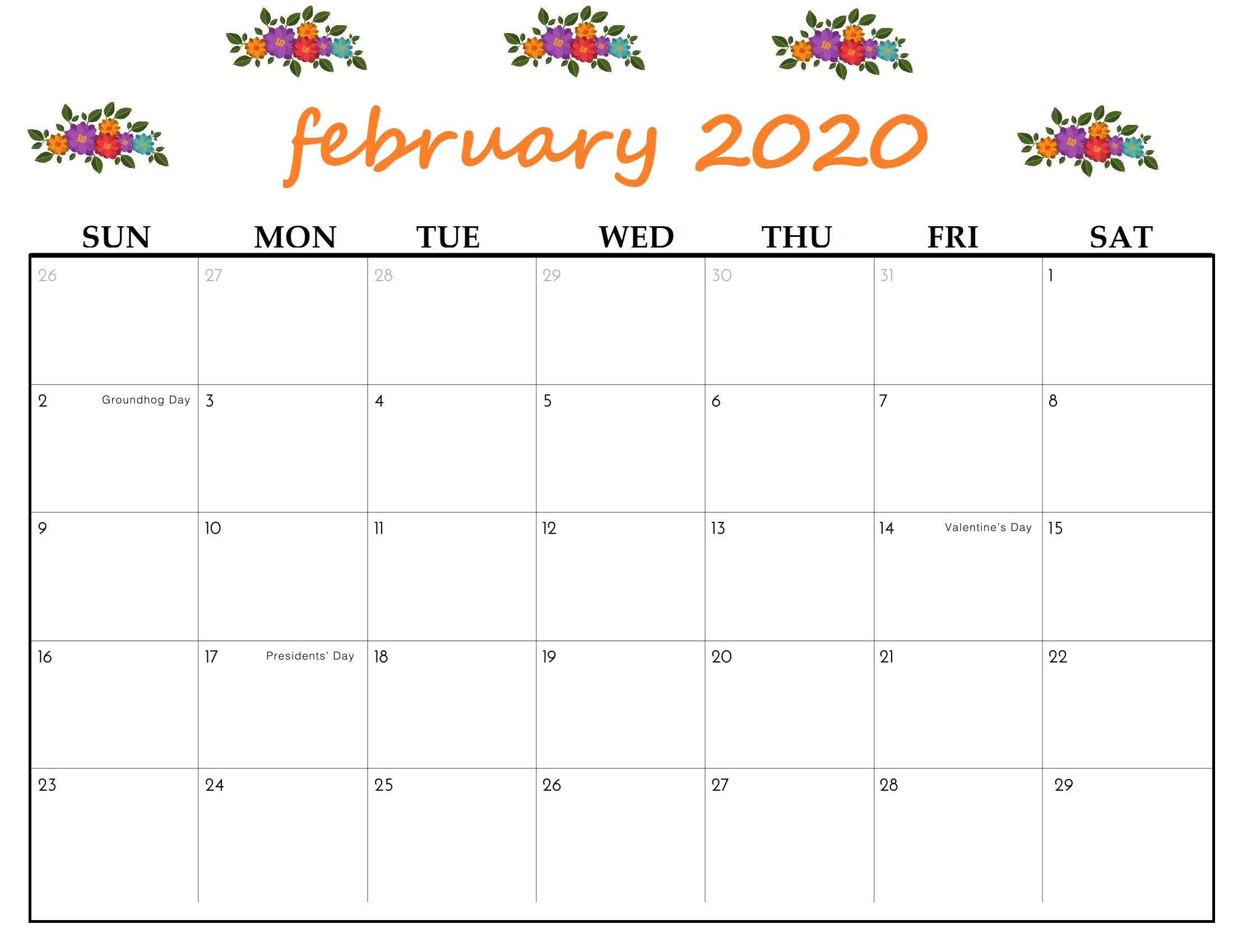 Free Cute February 2020 Calendar – Simple And Very Pretty