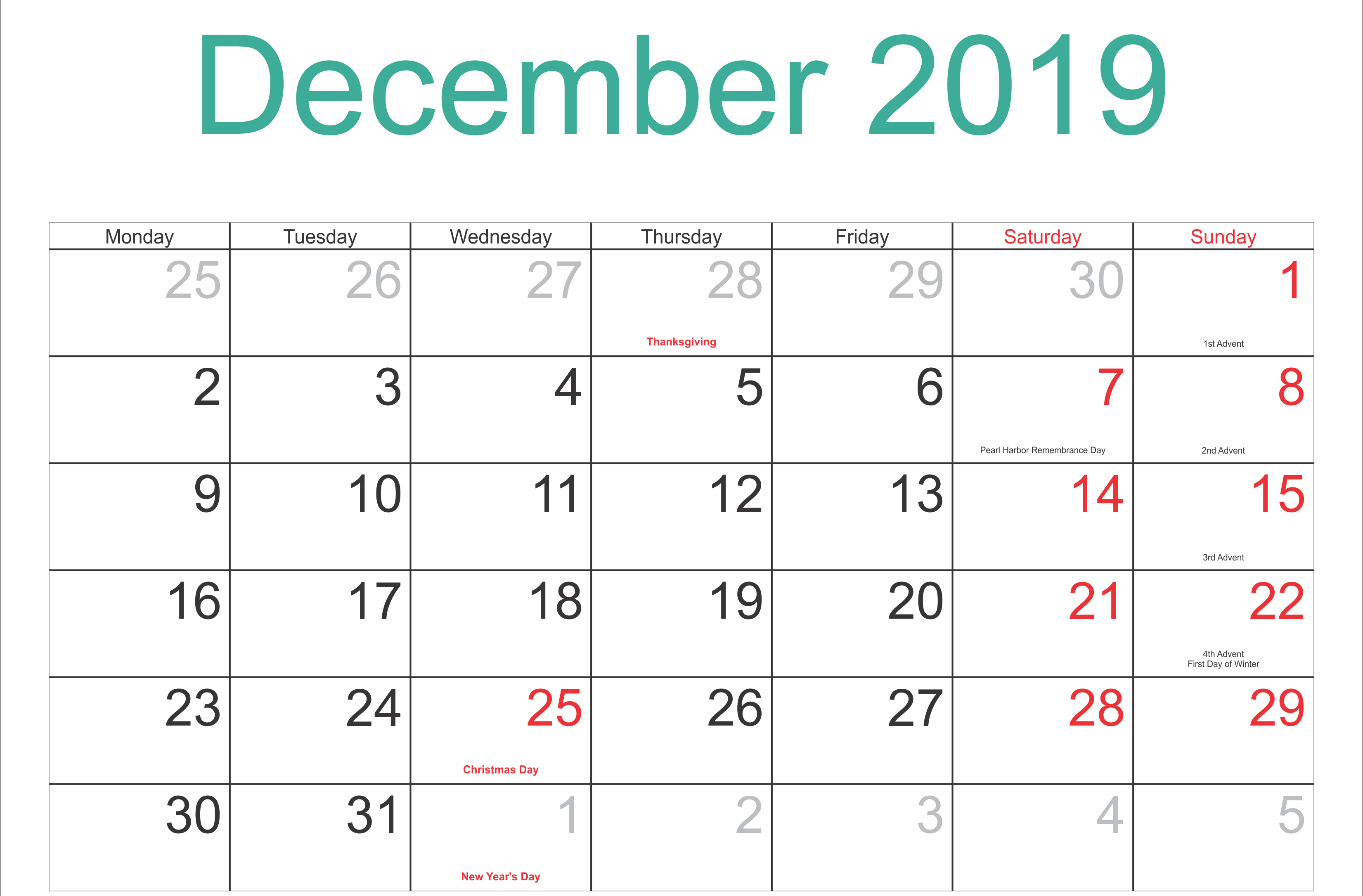 Free December 2019 Calendar With Holidays Printable Template