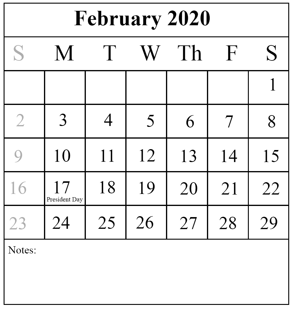 Free Download February 2020 Printable Calendar { Pdf,excel
