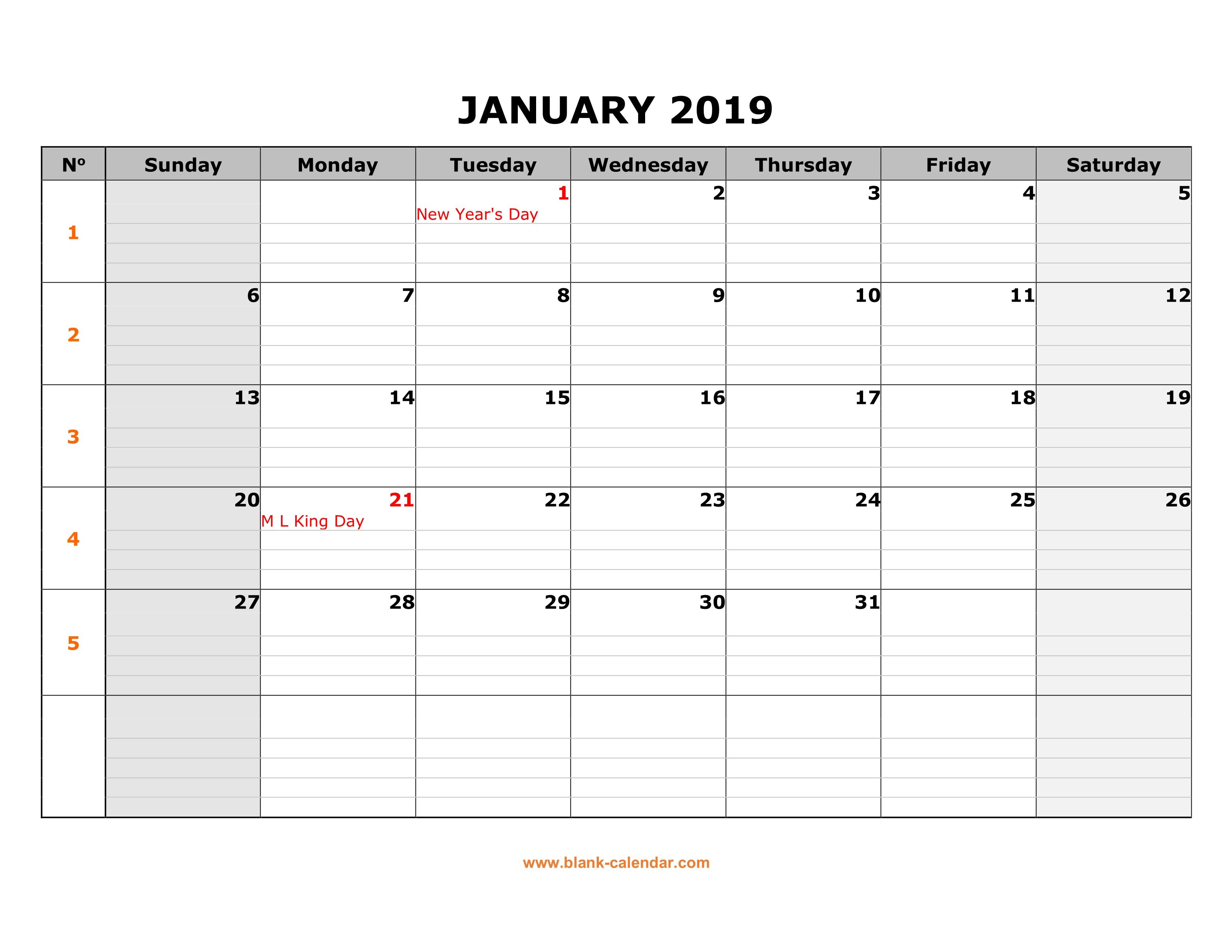 Free Download Printable Calendar 2019, Large Box Grid, Space