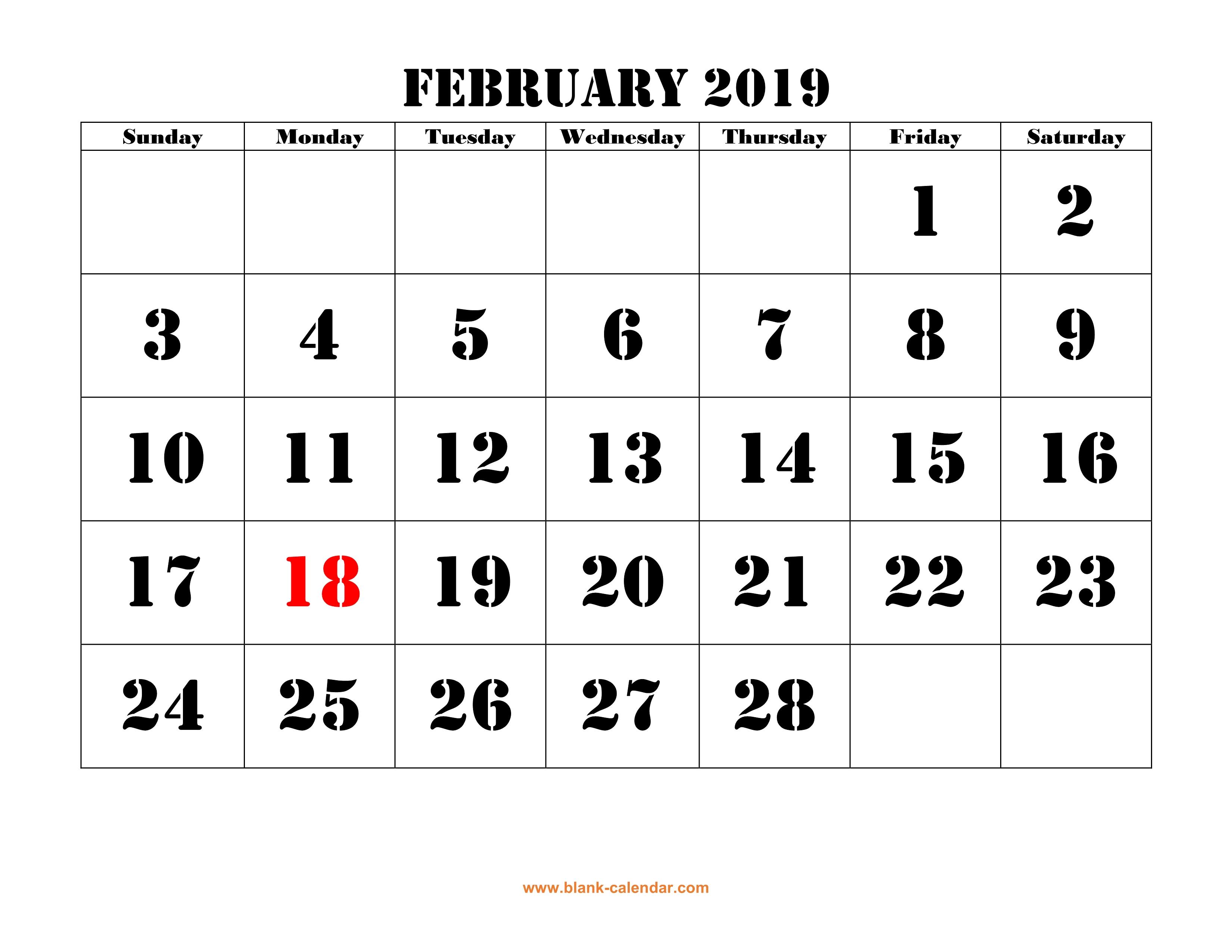 Free Download Printable February 2019 Calendar, Large Font
