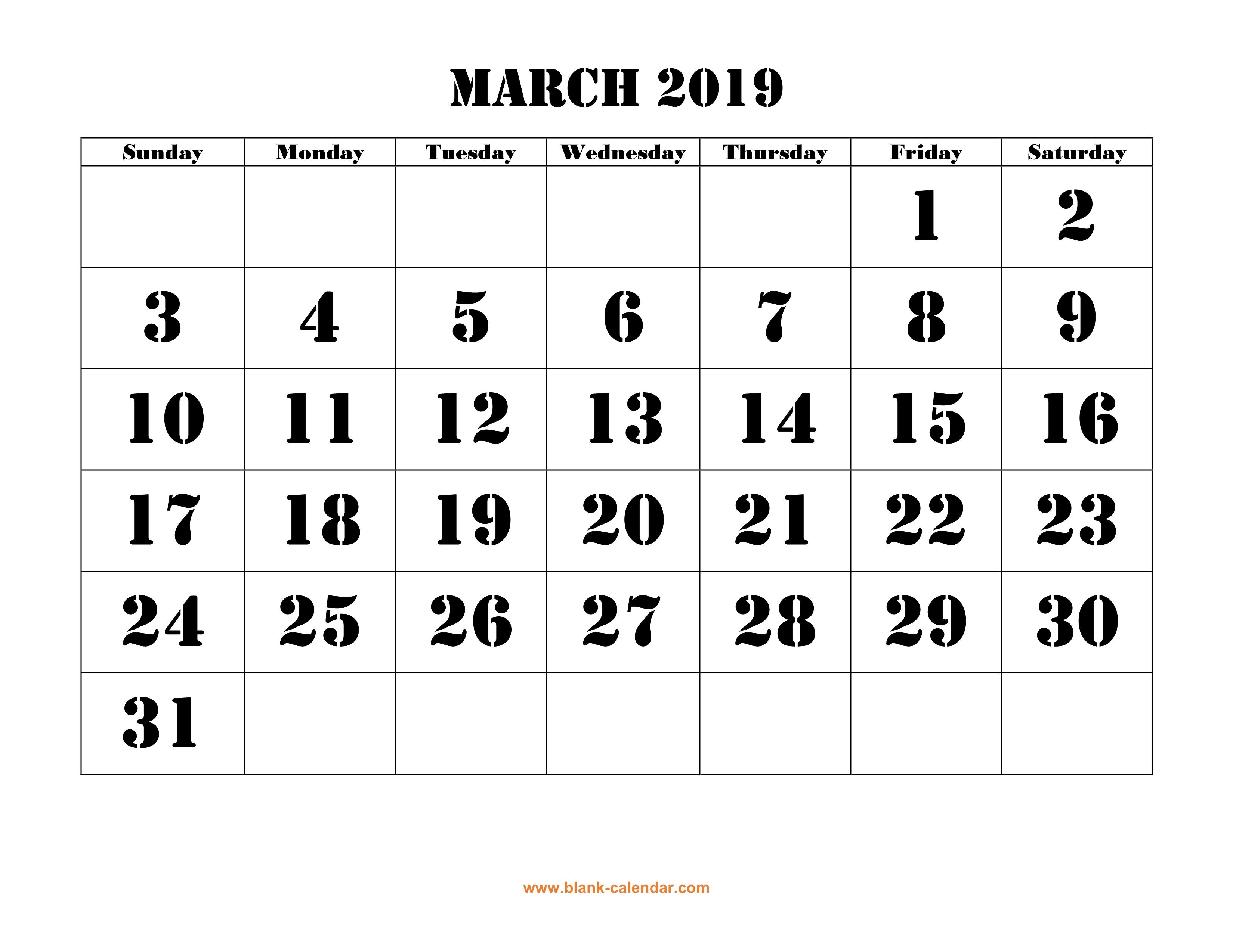 Free Download Printable March 2019 Calendar, Large Font