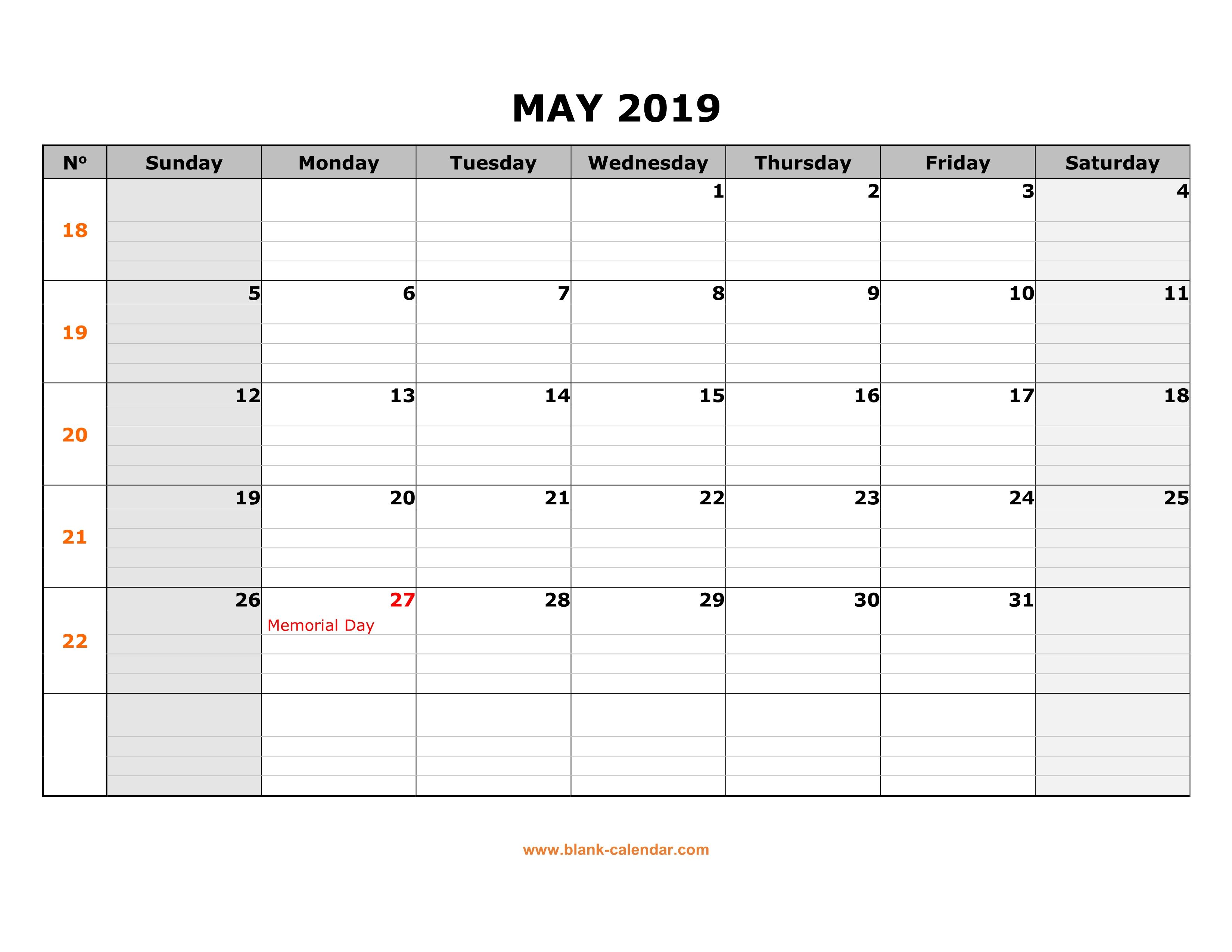 Free Download Printable May 2019 Calendar, Large Box Grid
