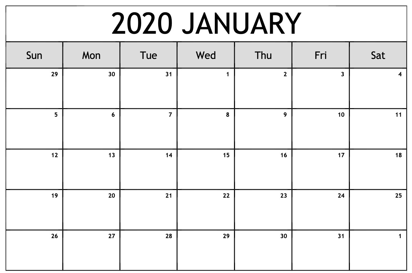 Free Editable January Calendar 2020 Blank Template