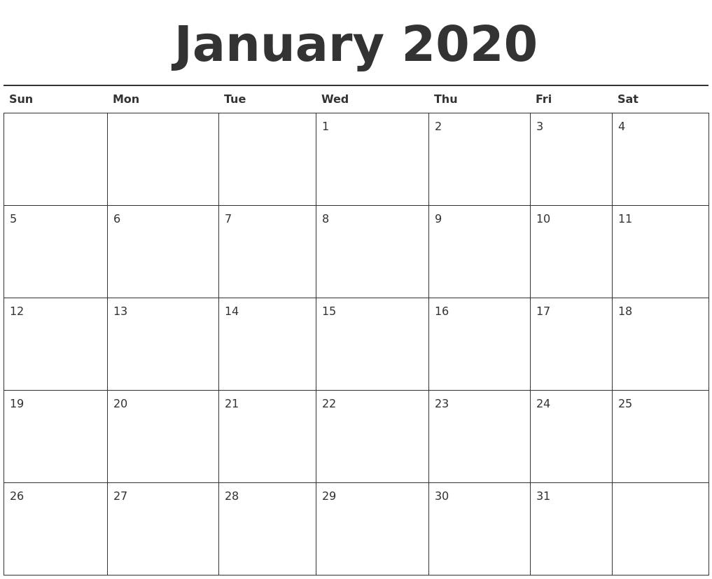 Free January 2020 Printable Calendar – Create Your Editable