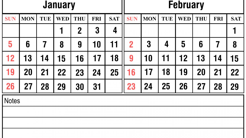 Free January February 2020 Calendar Printable Template