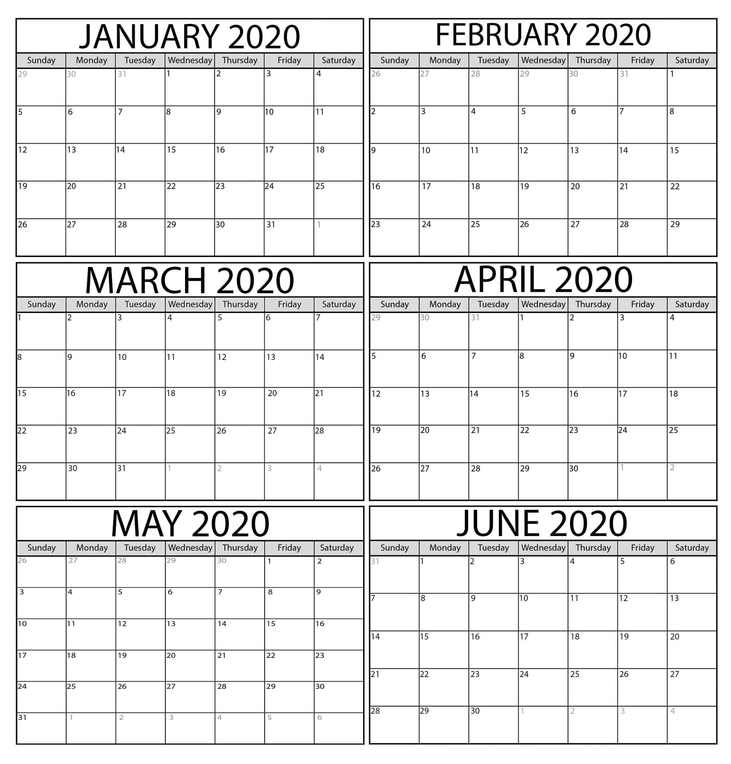 Free January To April 2020 Calendar Template - 2019