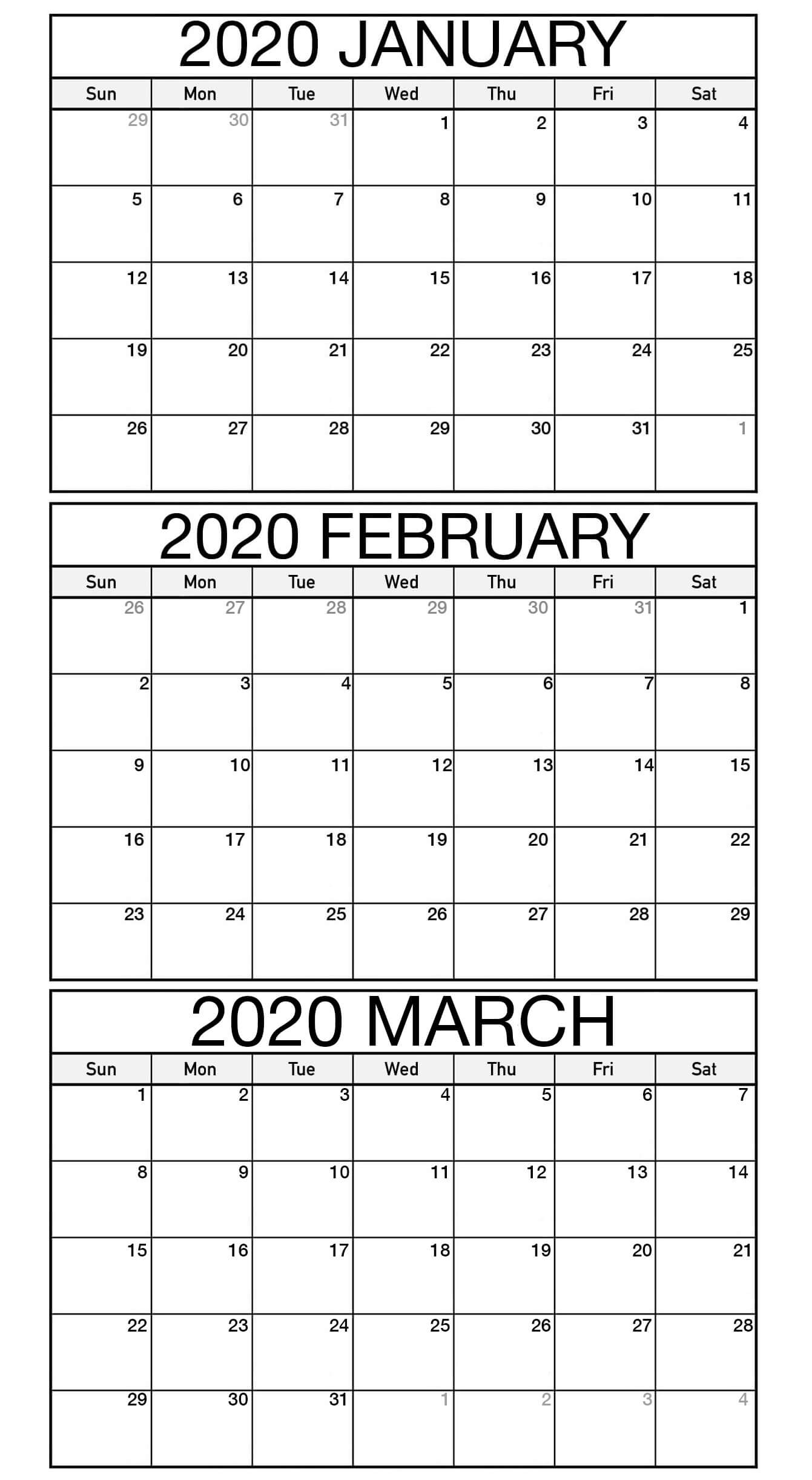 Free January To March 2020 Calendar Template - 2019