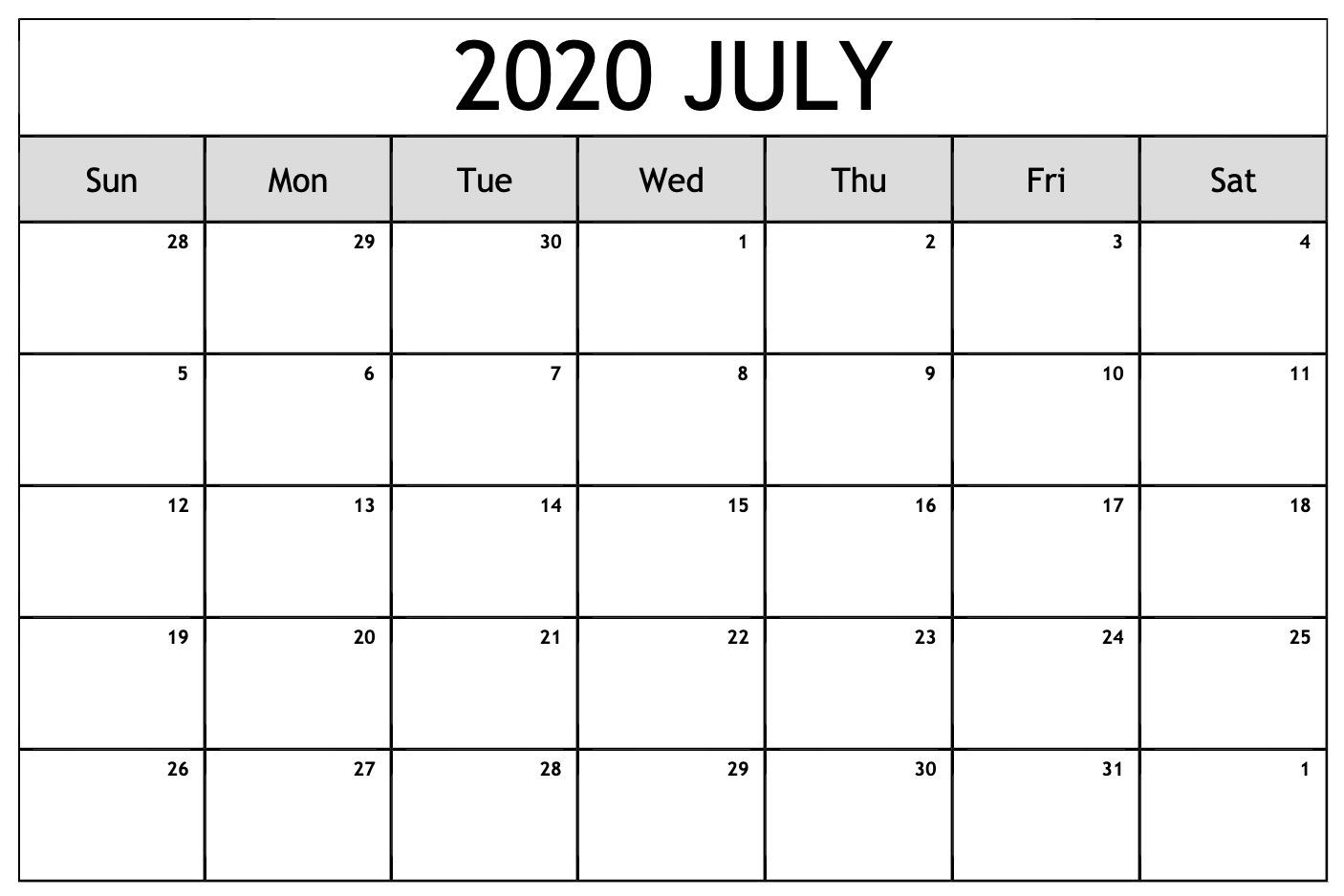 Free July 2020 Calendar – Blank Printable Template