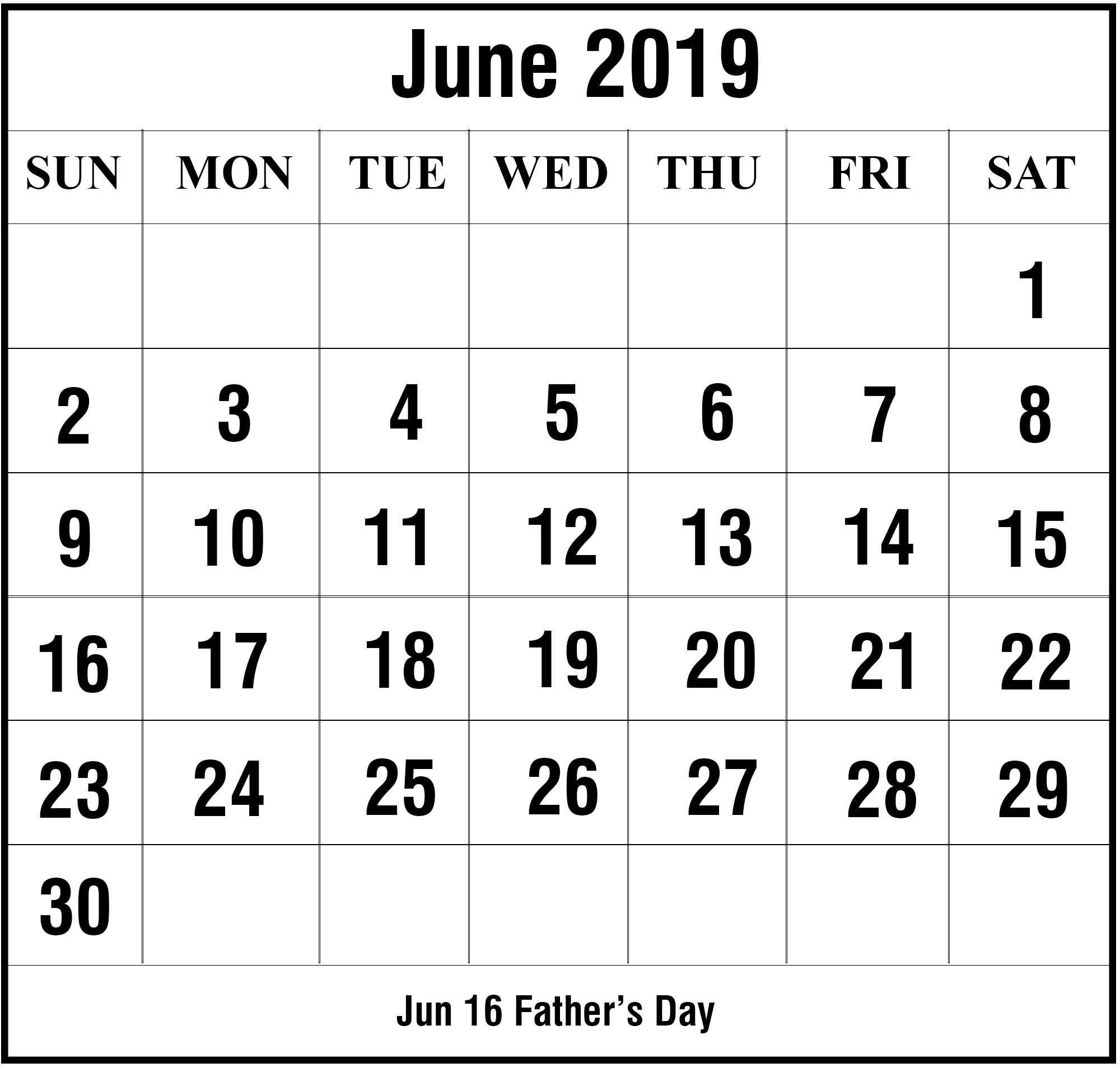Free June 2019 Printable Calendar Template In Pdf, Excel