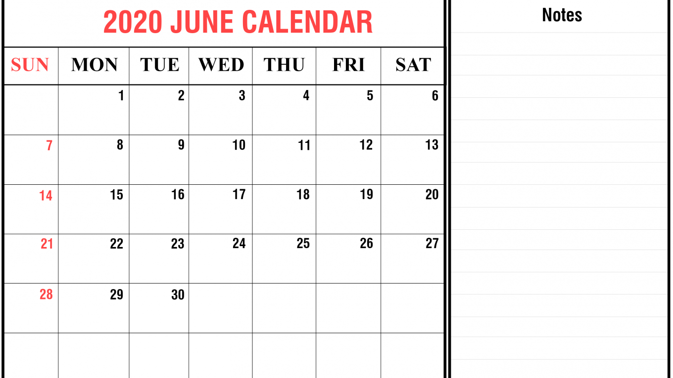 Free June Calendar 2020 Printable Template In Pdf, Word, Excel