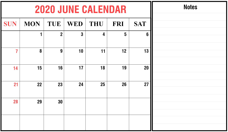 Free June Calendar 2020 Printable Template In Pdf, Word, Excel