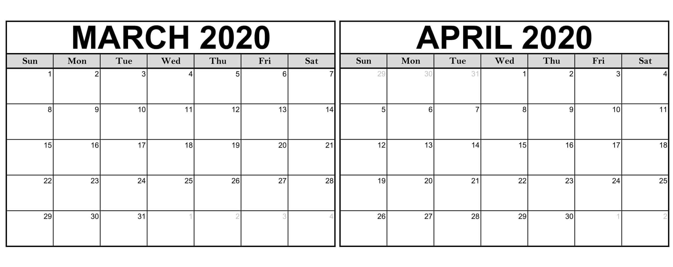 Free March April Calendar 2020 Printable - 2019 Calendars