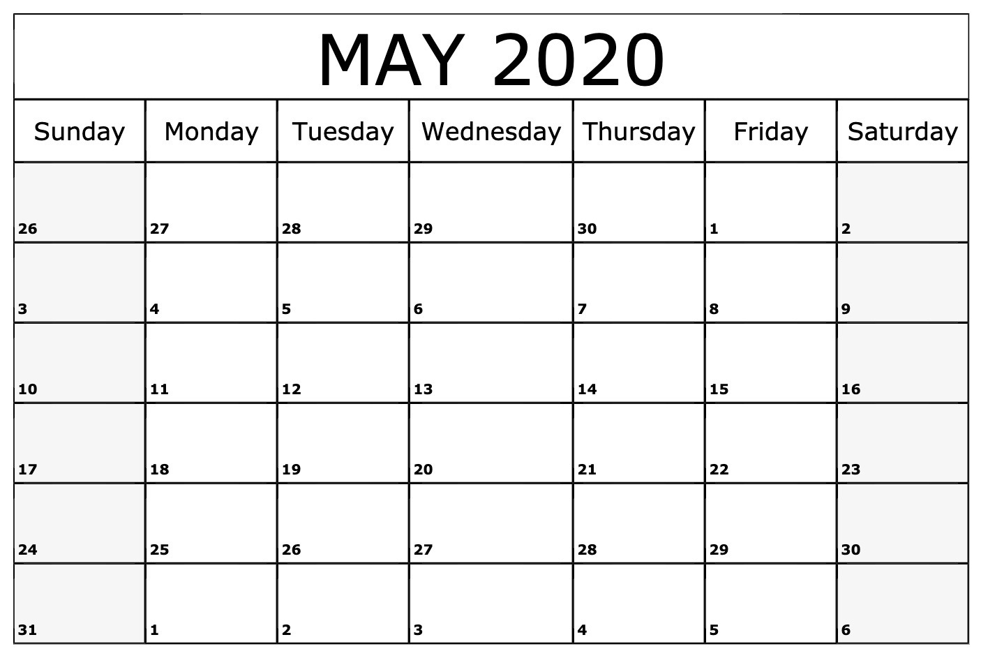 Free May 2020 Calendar – Blank Printable Template