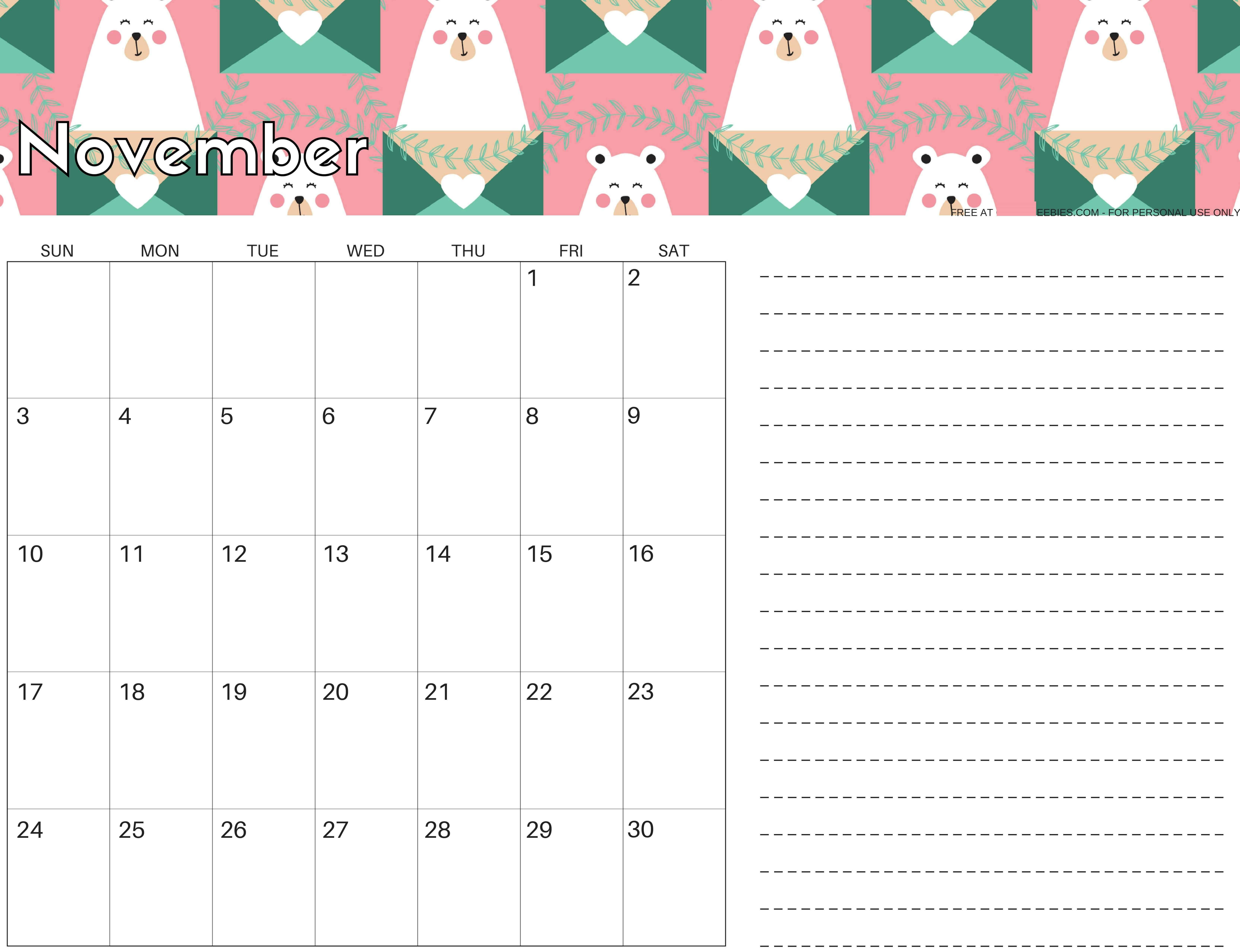 Free November 2019 Calendar Printable Sheet - Set Your Plan