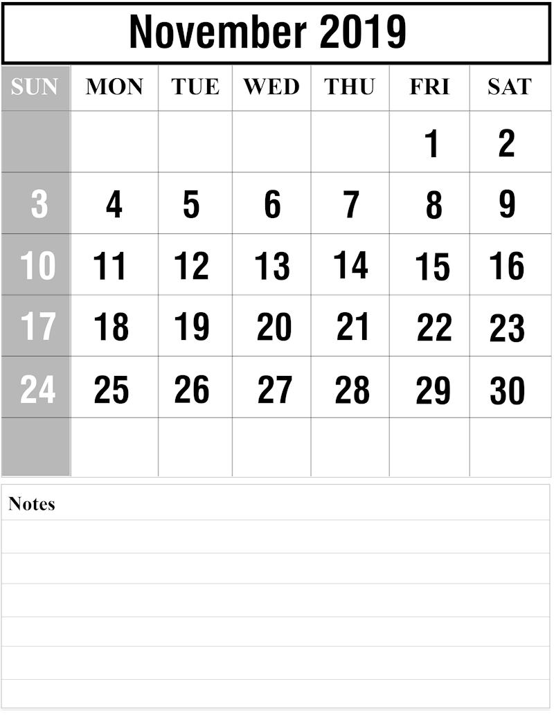 Free November 2019 Printable Calendar - Ko-Fi ❤️ Where