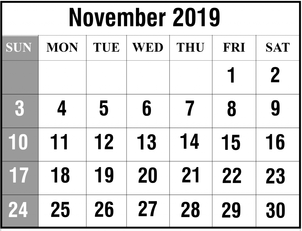 Free November 2019 Printable Calendar Template In Pdf, Excel
